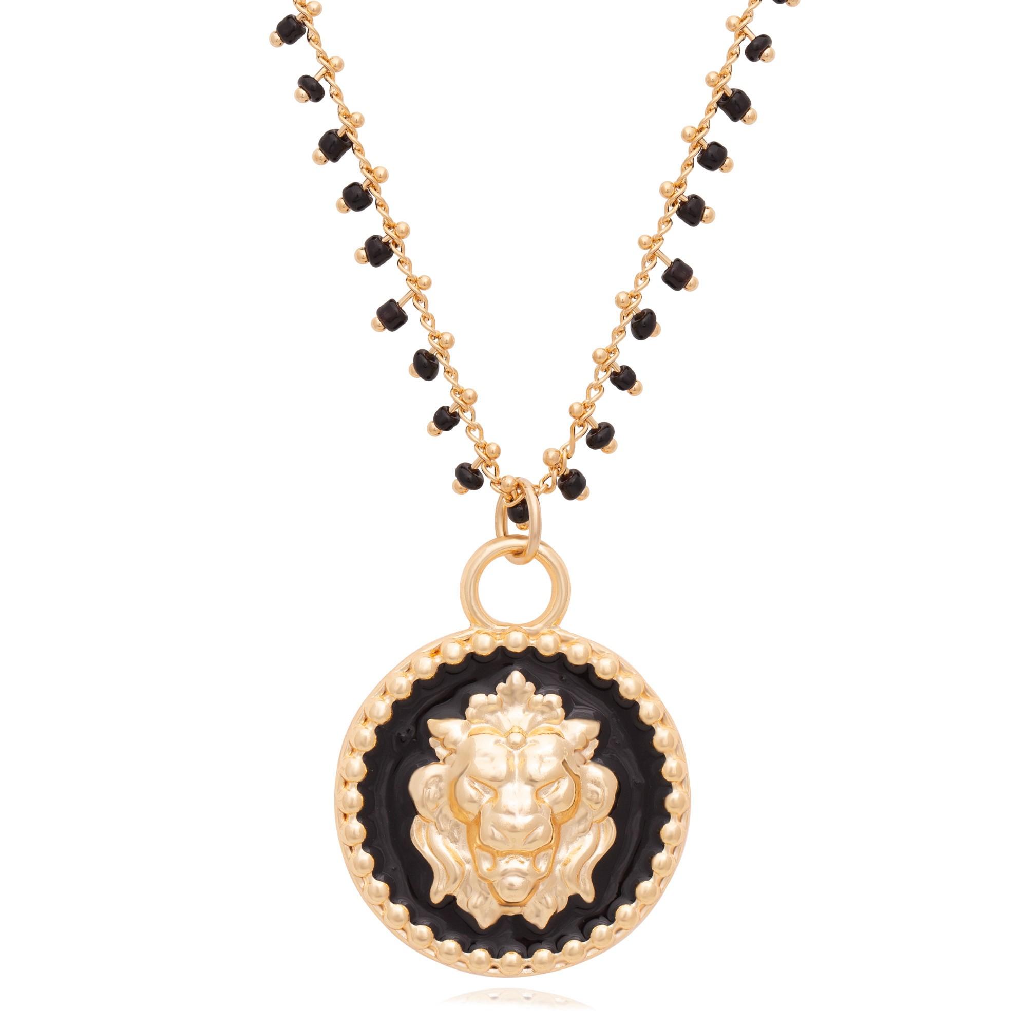 Colar cristais pretos com mandala de leão banhado a ouro 18K  - romabrazil.com.br