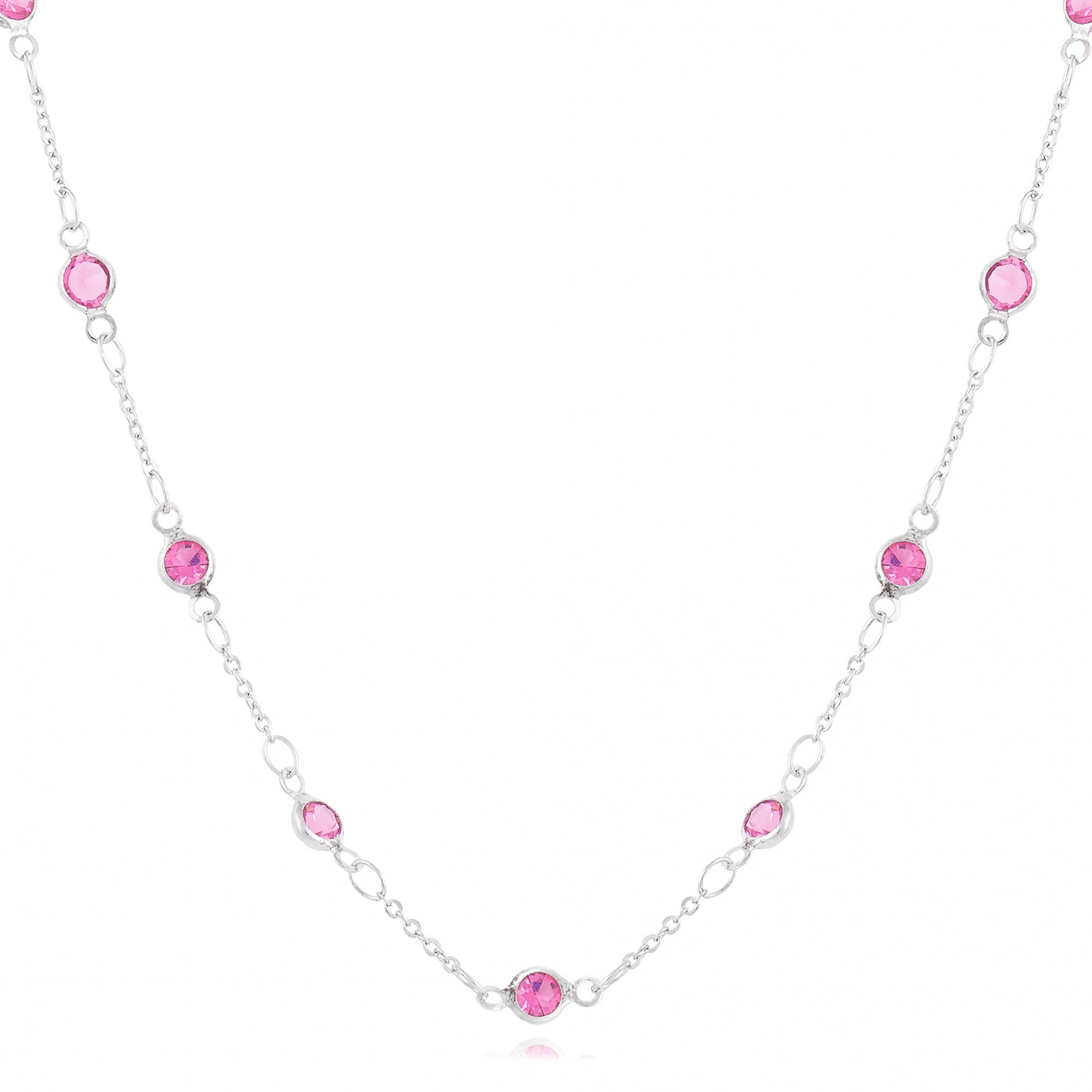 Colar cristais roxos banho de ródio branco.  - romabrazil.com.br