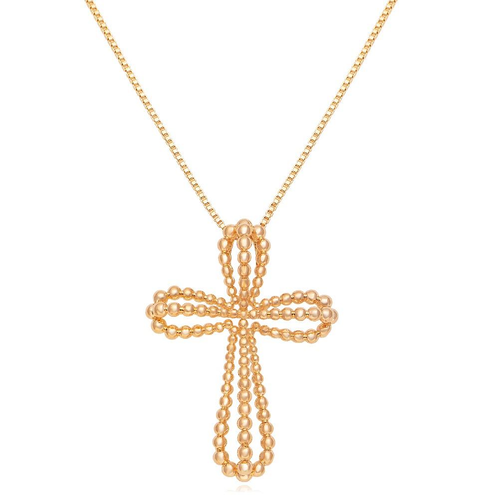 Colar cruz bolinhas banhado a ouro 18k  - romabrazil.com.br