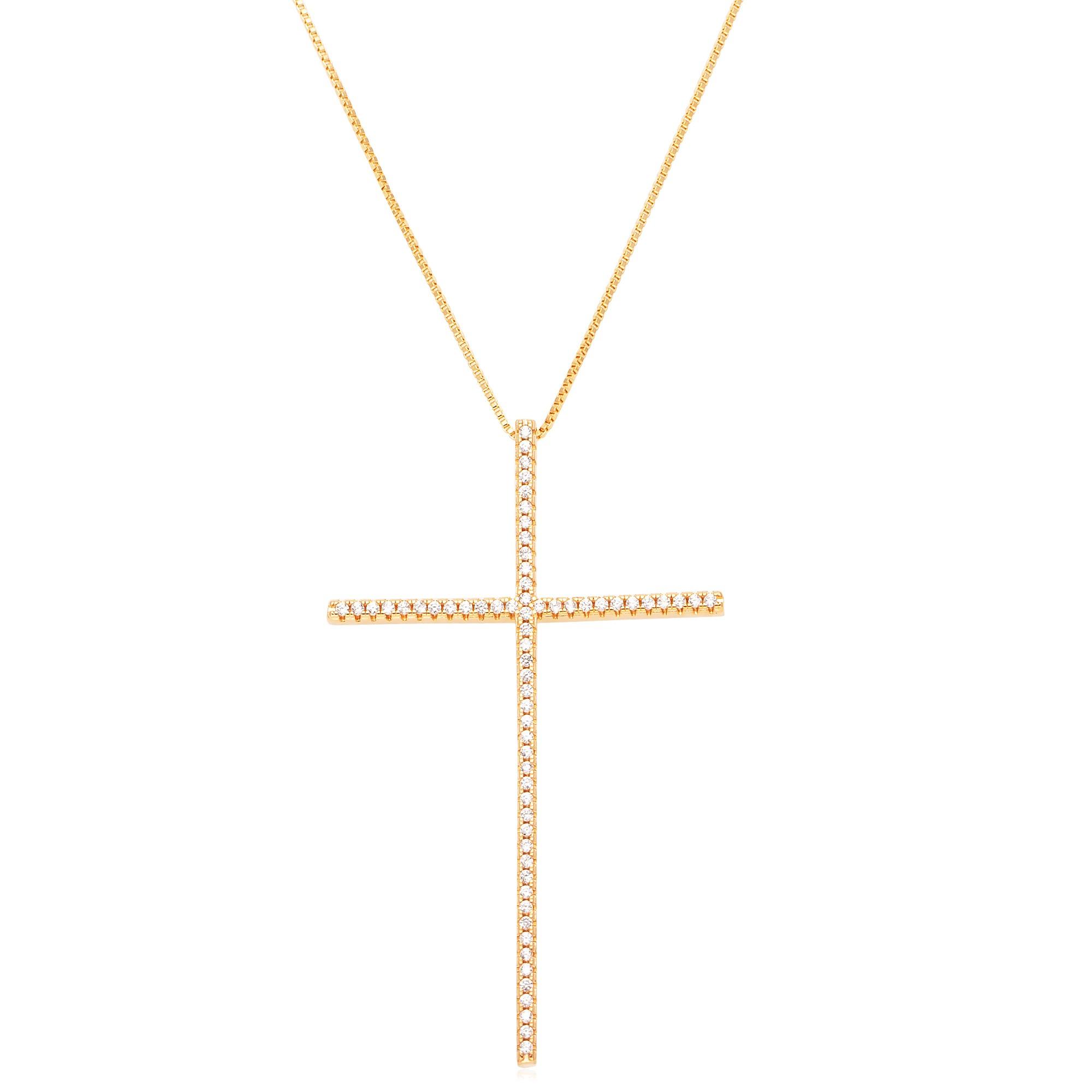 Colar cruz palito zircônias banhado a ouro 18k  - bfdecor.com.br