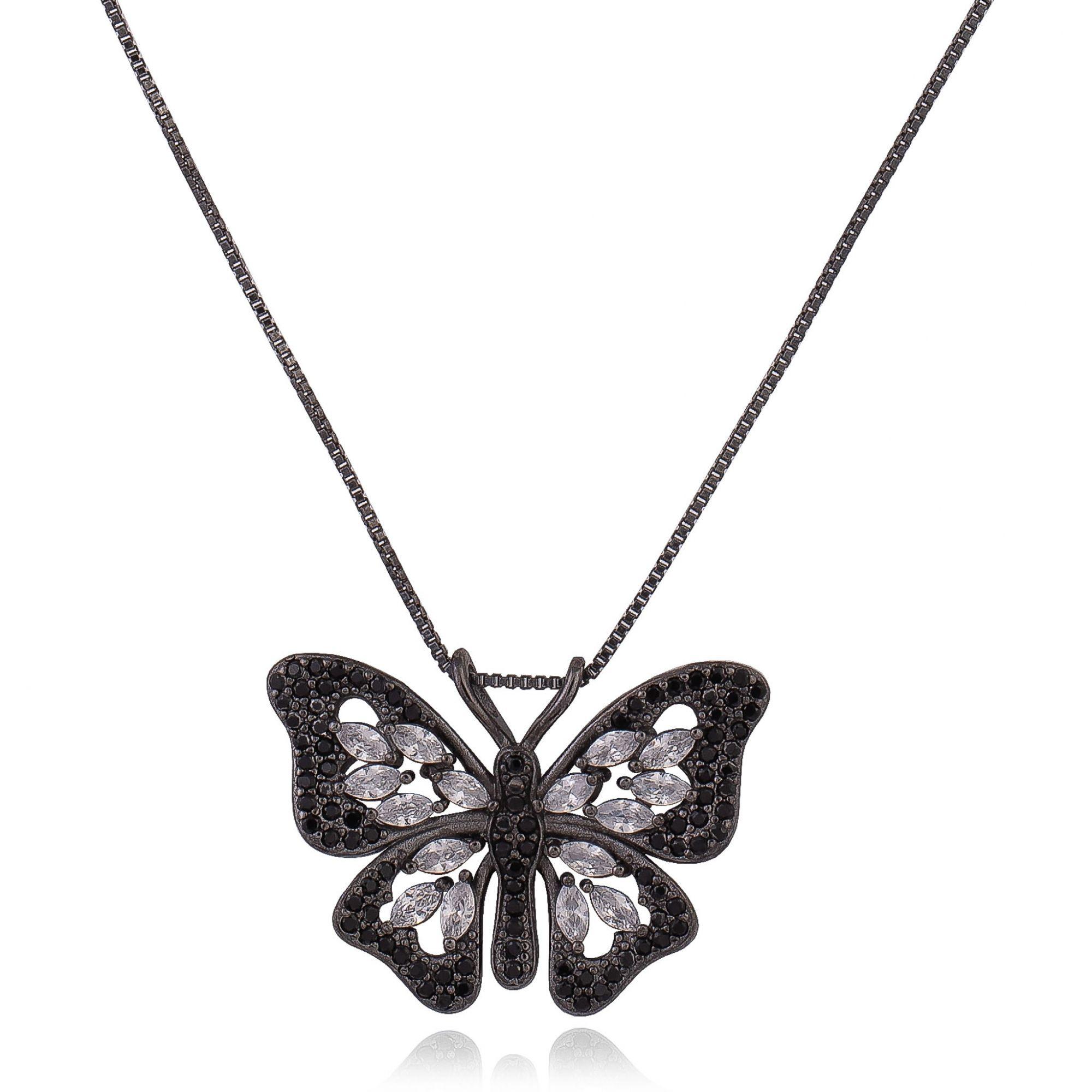 Colar de borboleta com zircônias cristais e negras banho de grafite.  - romabrazil.com.br