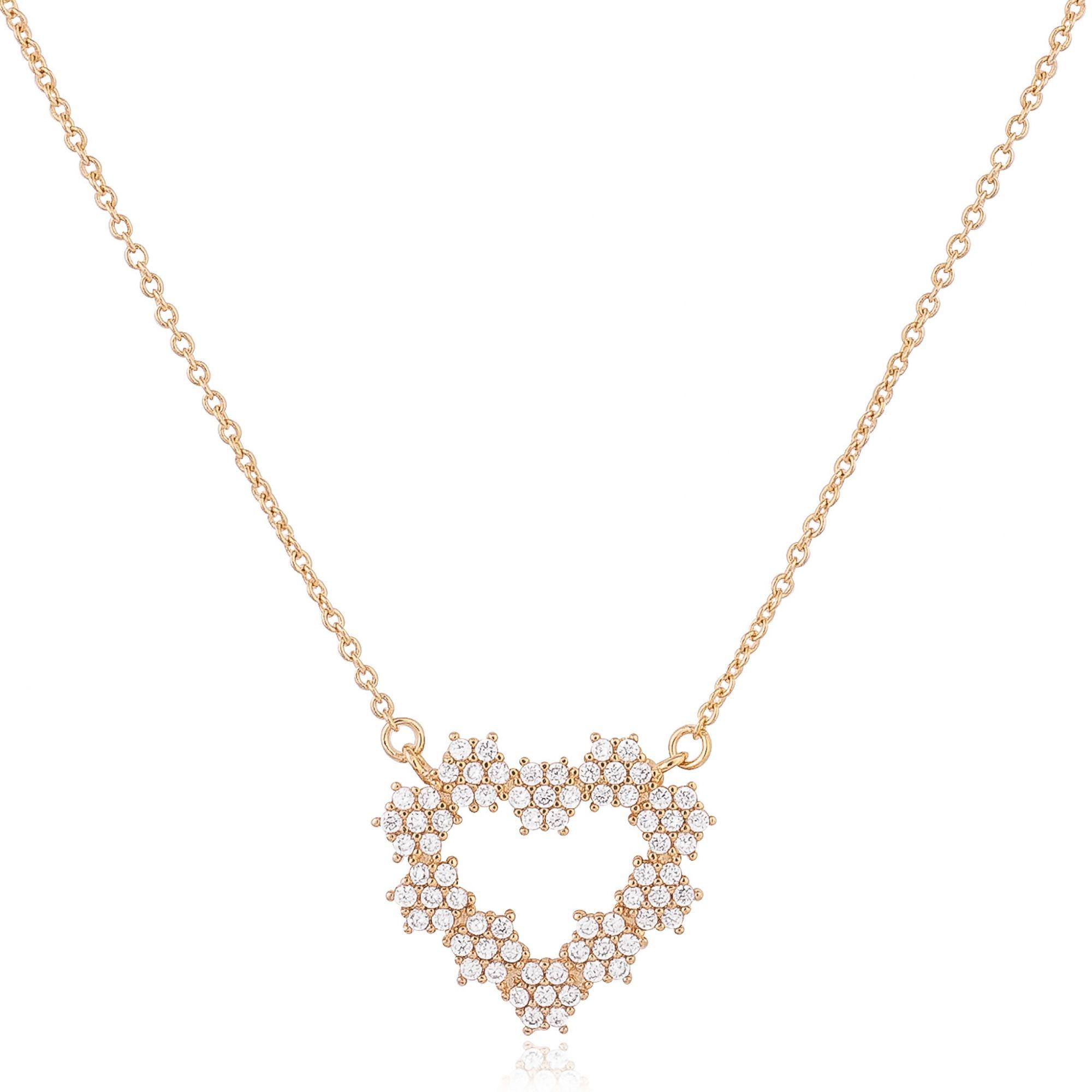 Colar de coração com zircônias cristais banhado a ouro 18k.  - romabrazil.com.br