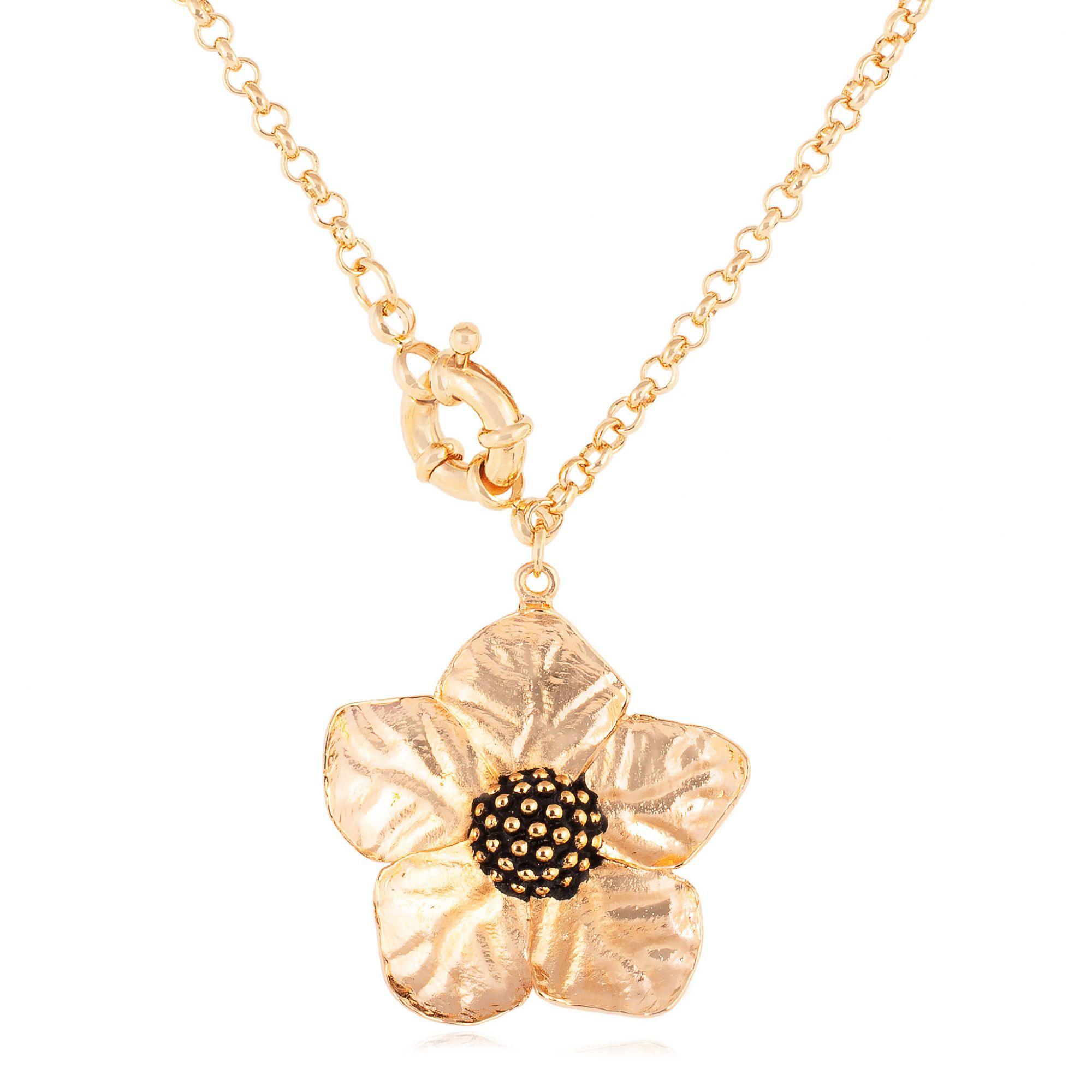Colar de flor banhado a ouro 18k.  - romabrazil.com.br