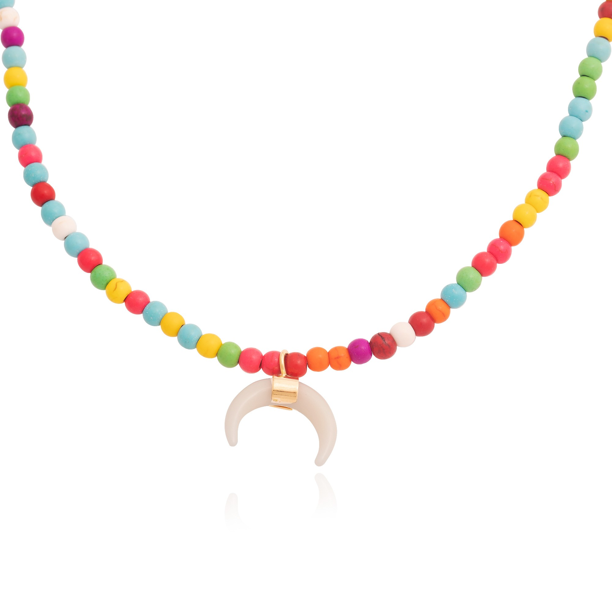 Colar de pedras naturais Howlita coloridas  - romabrazil.com.br