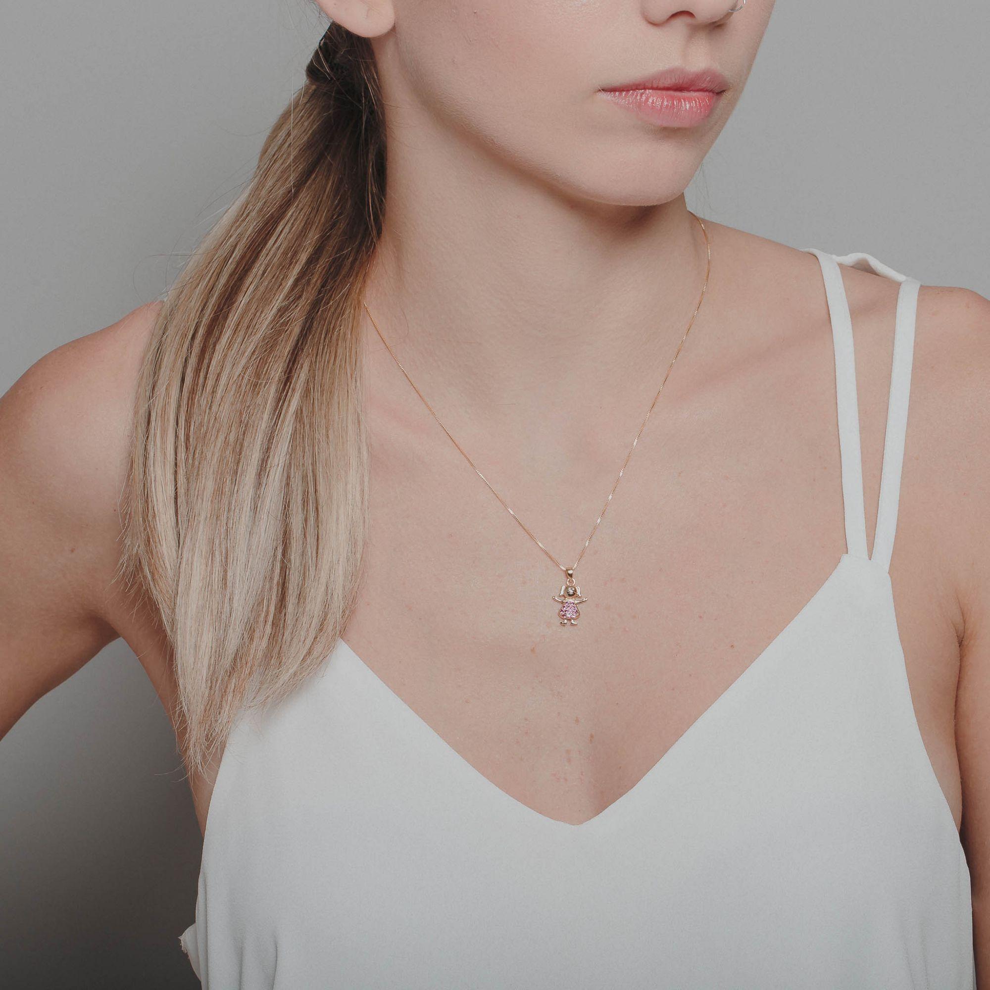 Colar filha com micro zircônias rubis banhado a ouro 18k.  - bfdecor.com.br