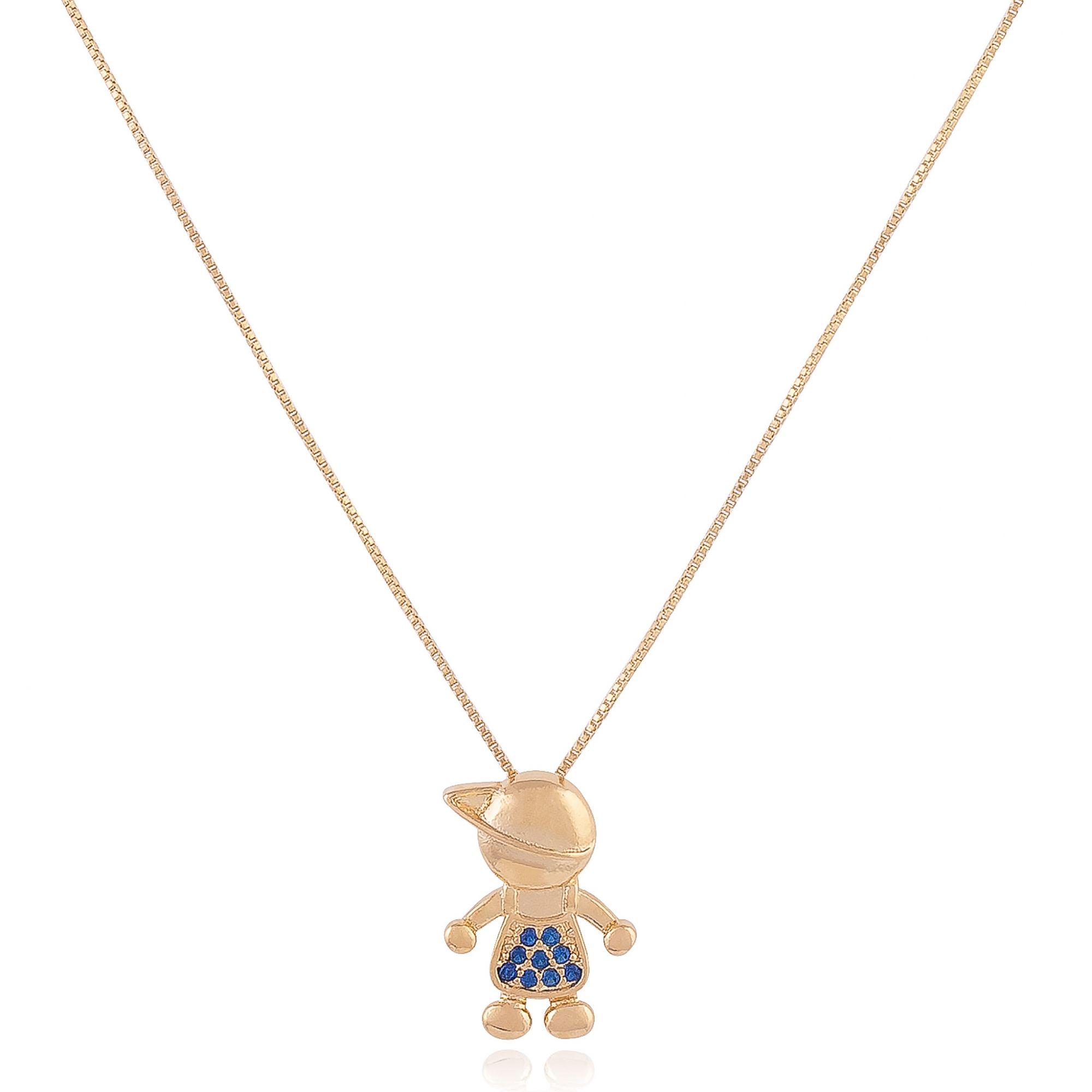 Colar filho com micro zircônias azuis banhado a ouro 18k.  - romabrazil.com.br