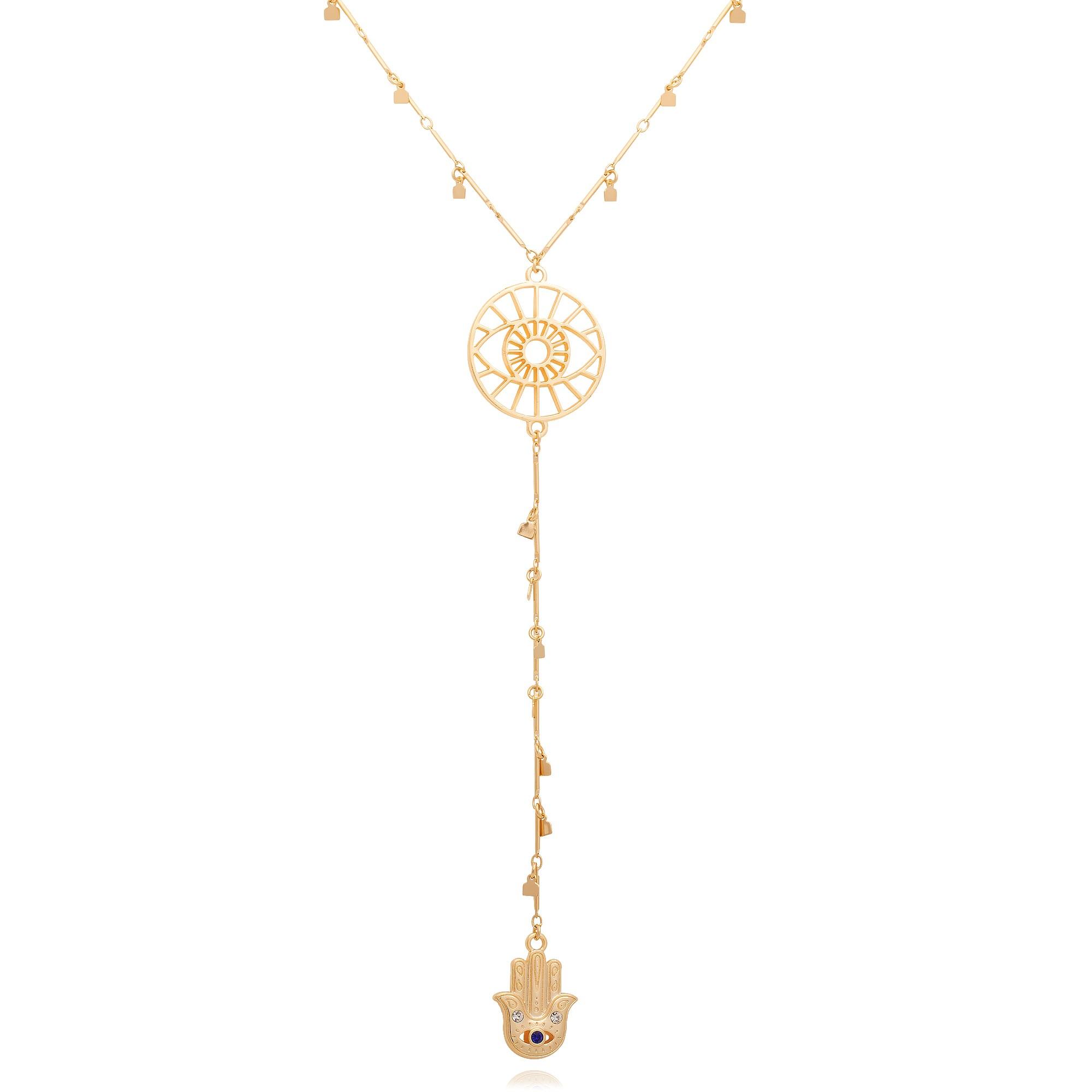 Colar gravata banhado à ouro 18k com pingente olho grego e mão de fátima.  - romabrazil.com.br