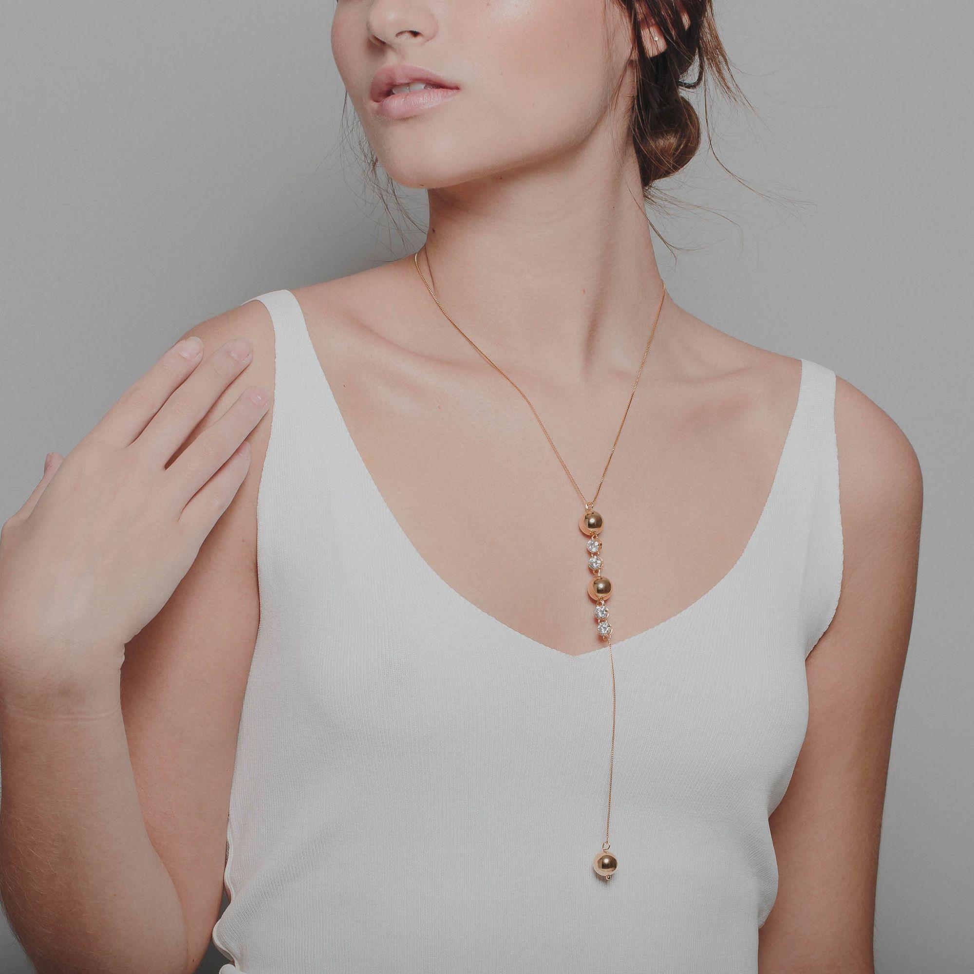 Colar gravata ponto de luz de zircônia banhado a ouro 18k.  - romabrazil.com.br