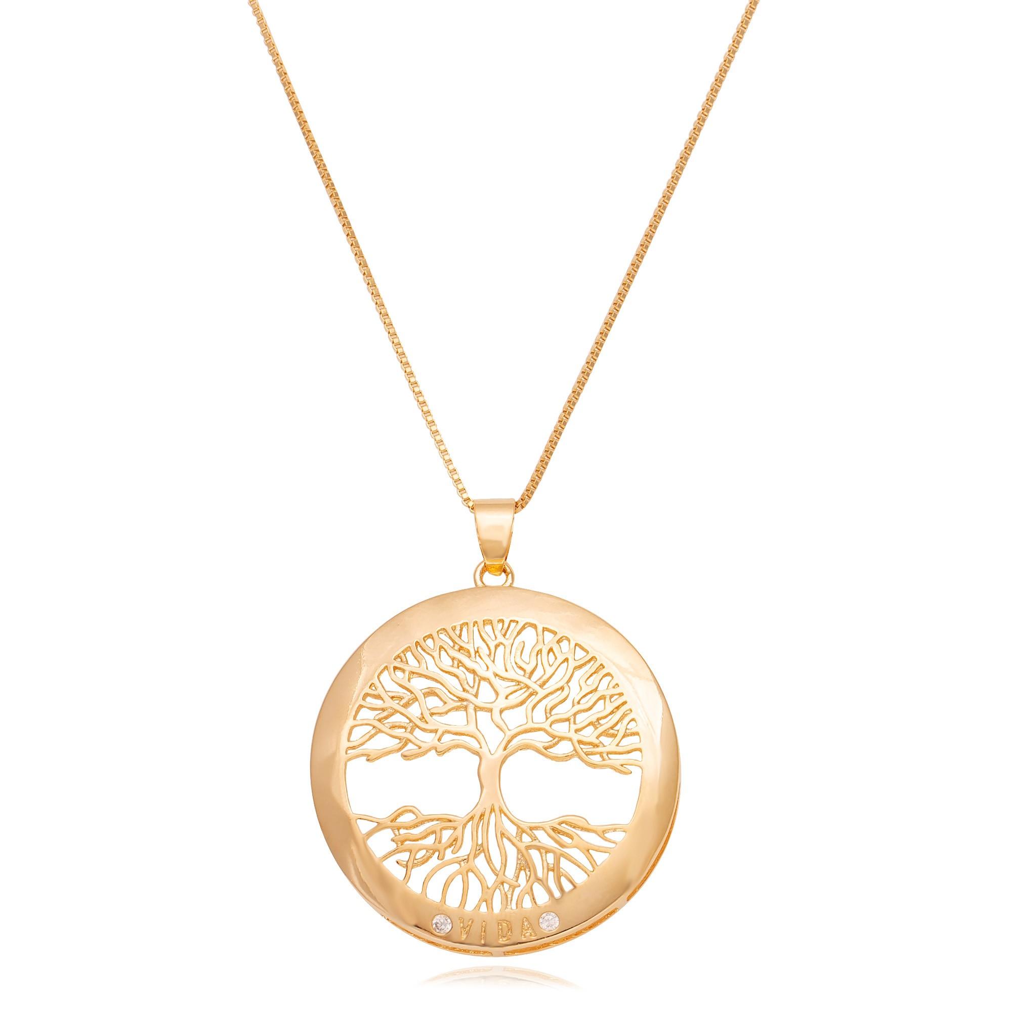 Colar mandala árvore da vida banhado a ouro 18k  - romabrazil.com.br
