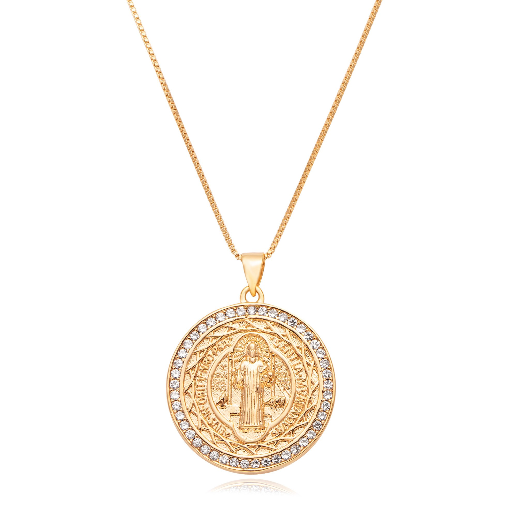 Colar medalha de São Bento com zircônias banhado a ouro 18k  - romabrazil.com.br