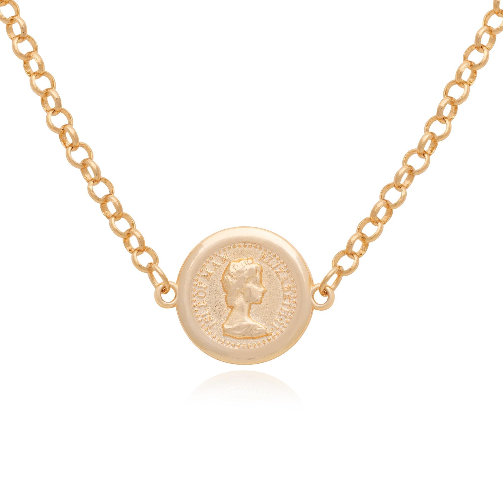 Colar moeda com corrente elo português banhado à ouro 18k.  - bfdecor.com.br