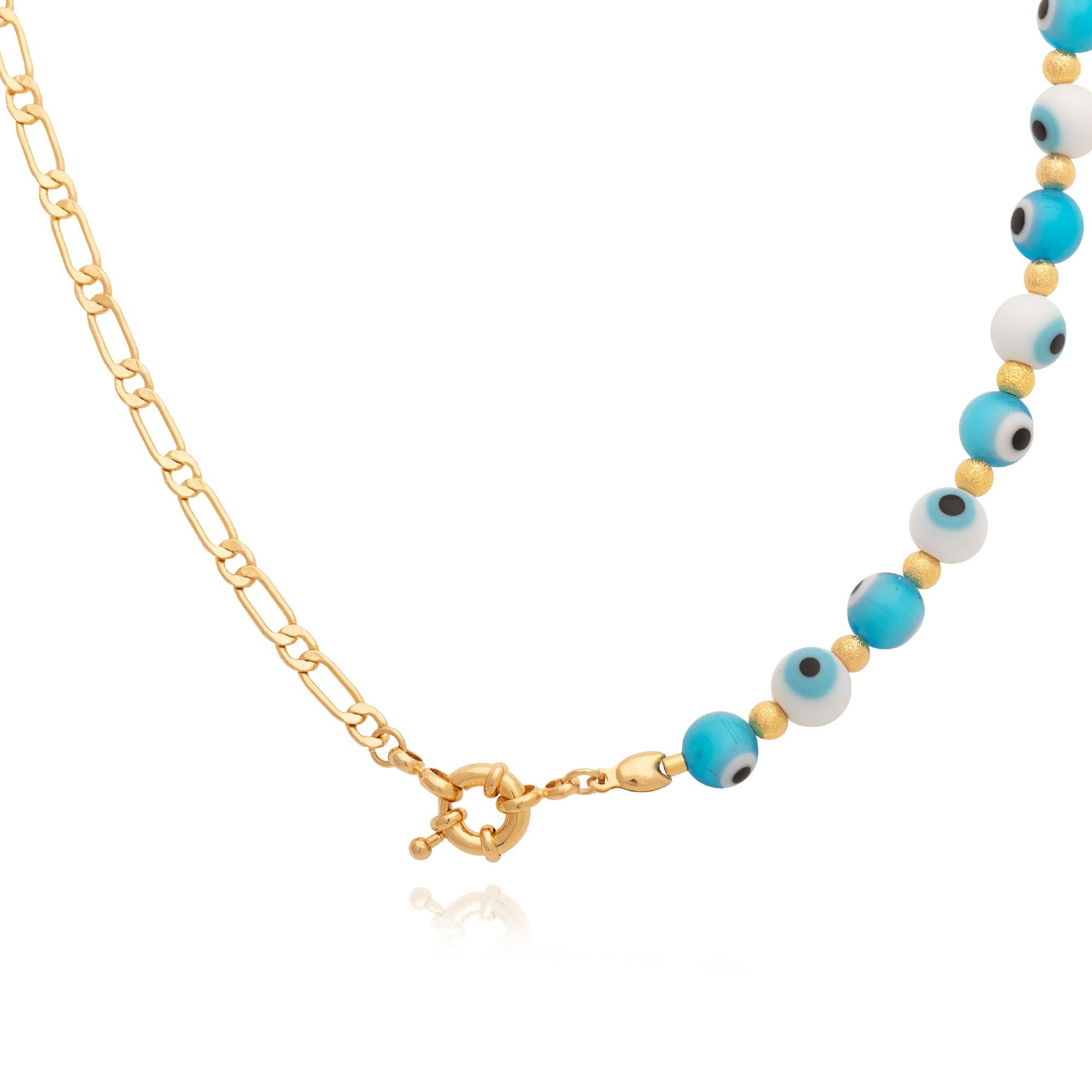 Colar olho grego azul claro com corrente banhado á ouro 18k.  - bfdecor.com.br