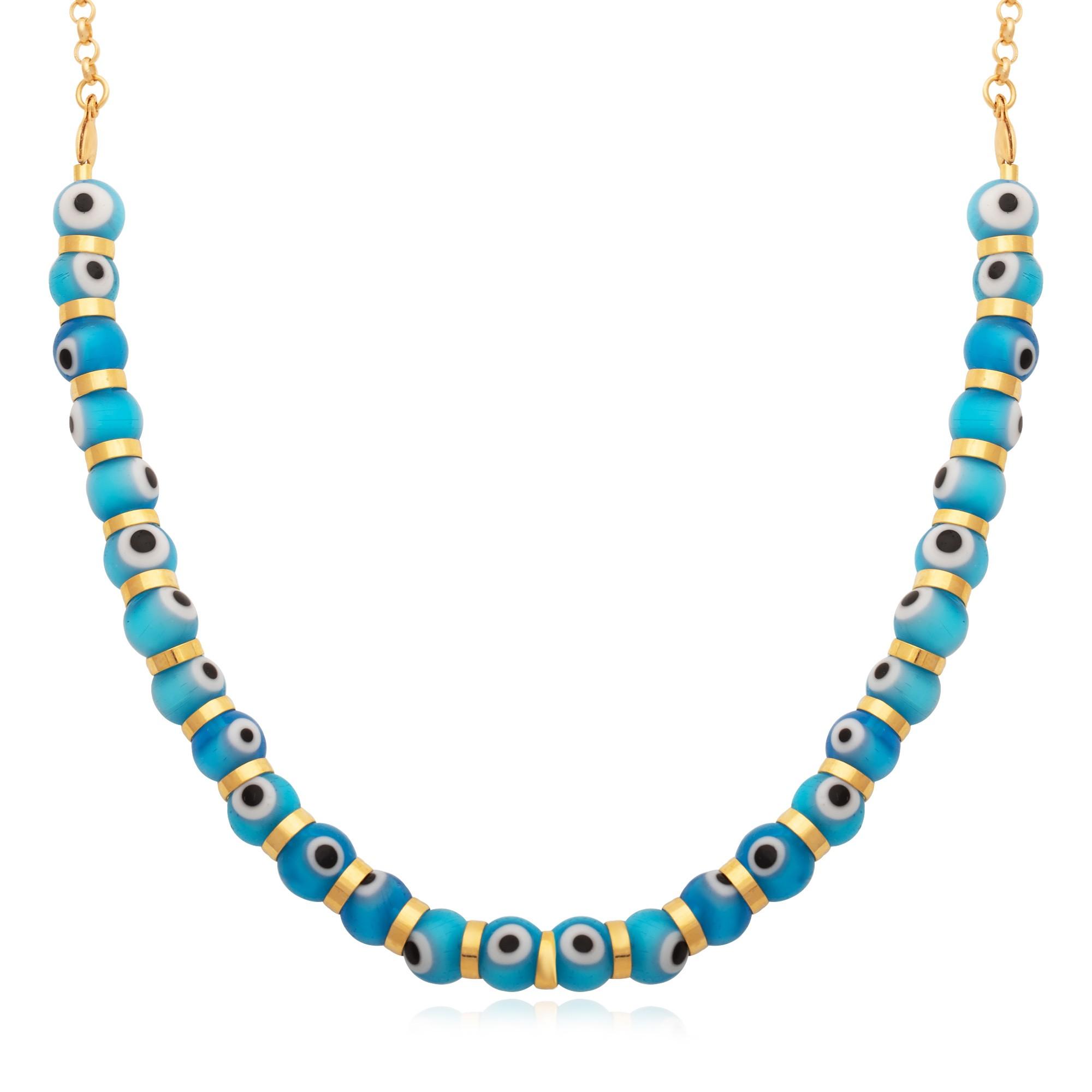 Colar olho grego azul com corrente banhado á ouro 18k.  - bfdecor.com.br
