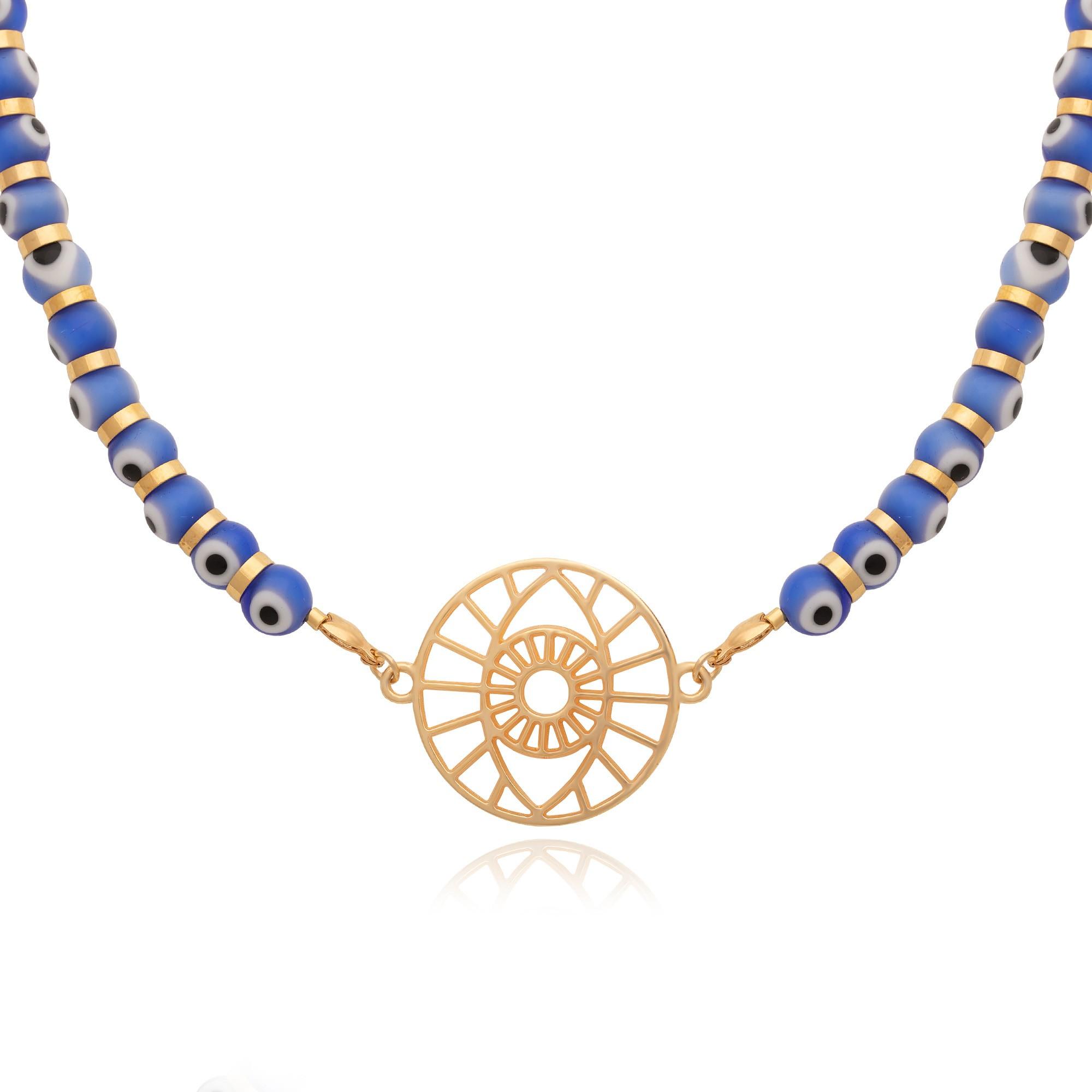 Colar olho grego azul com pingente banhado à ouro 18k.  - bfdecor.com.br