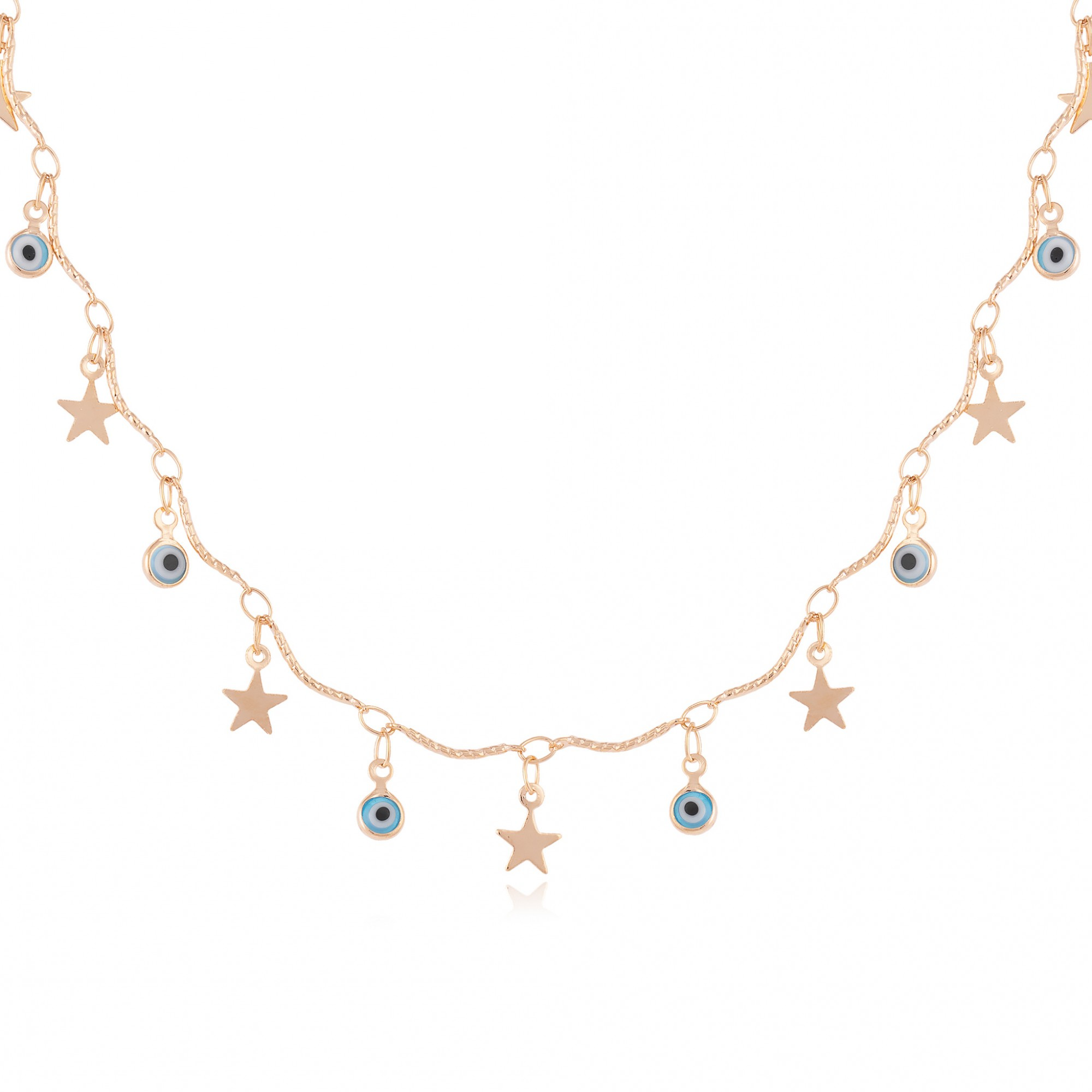 Colar olho grego e estrelas banhado a ouro 18k.  - bfdecor.com.br
