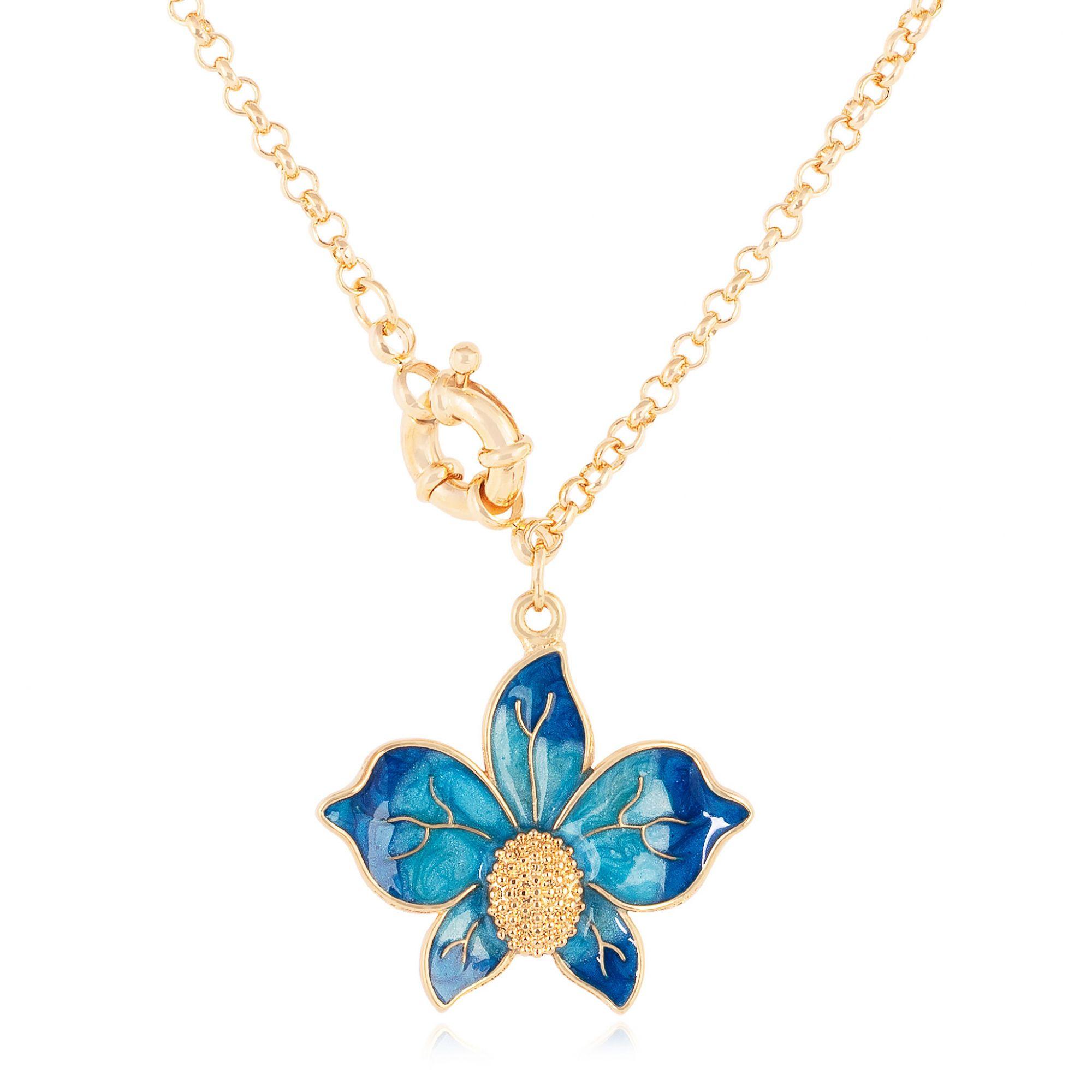 Colar de orquídea banhado a ouro 18k resinado em azul.  - romabrazil.com.br