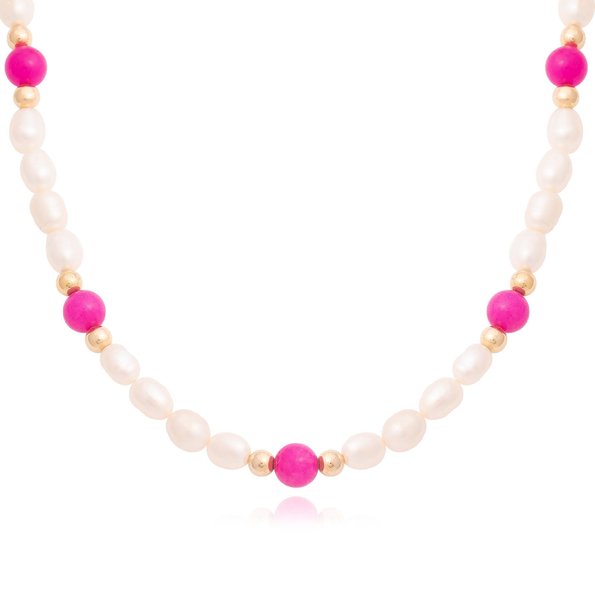 Colar pérolas de água doce e pedras naturais pink  - romabrazil.com.br