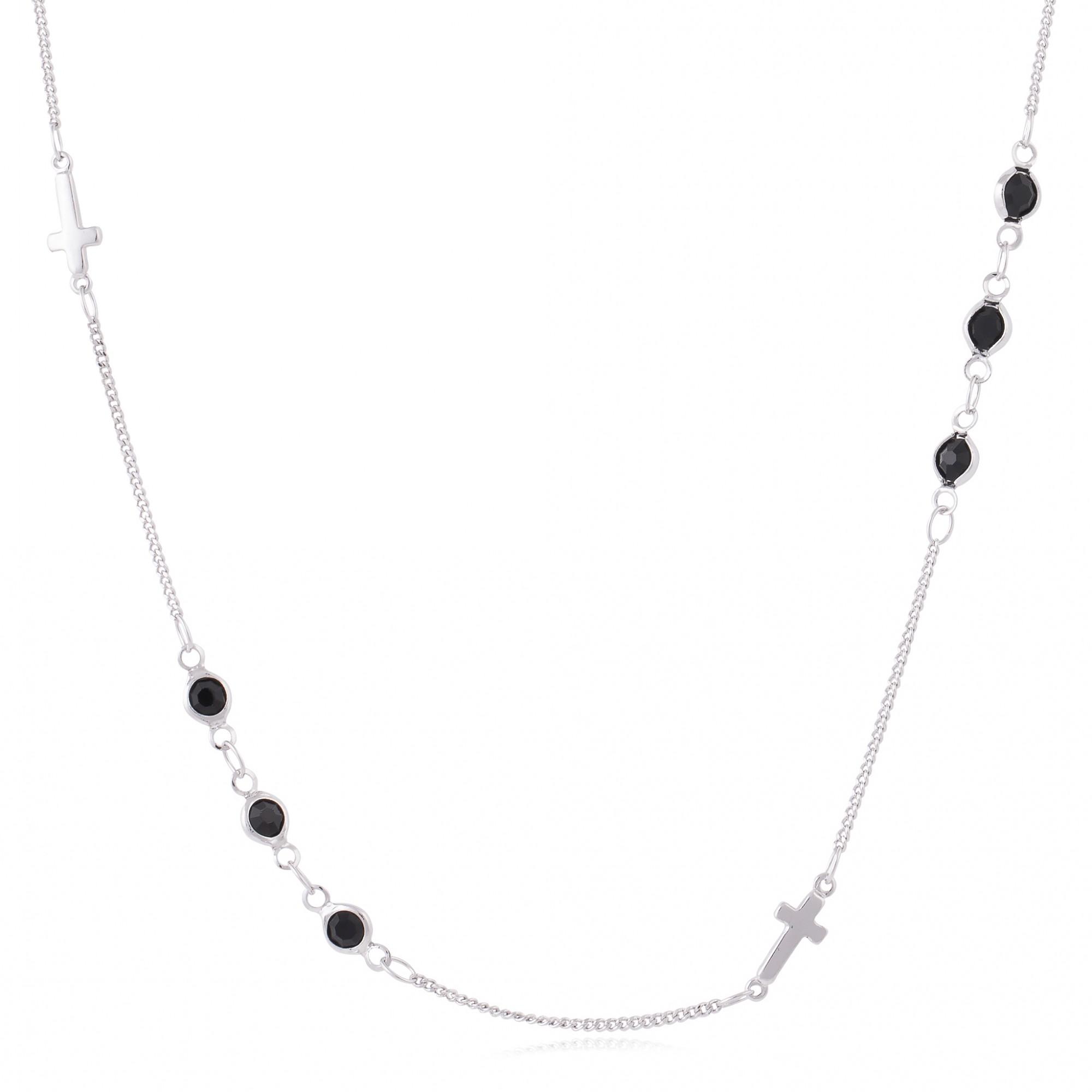 Colar trio cristais pretos banho de ródio branco.  - romabrazil.com.br