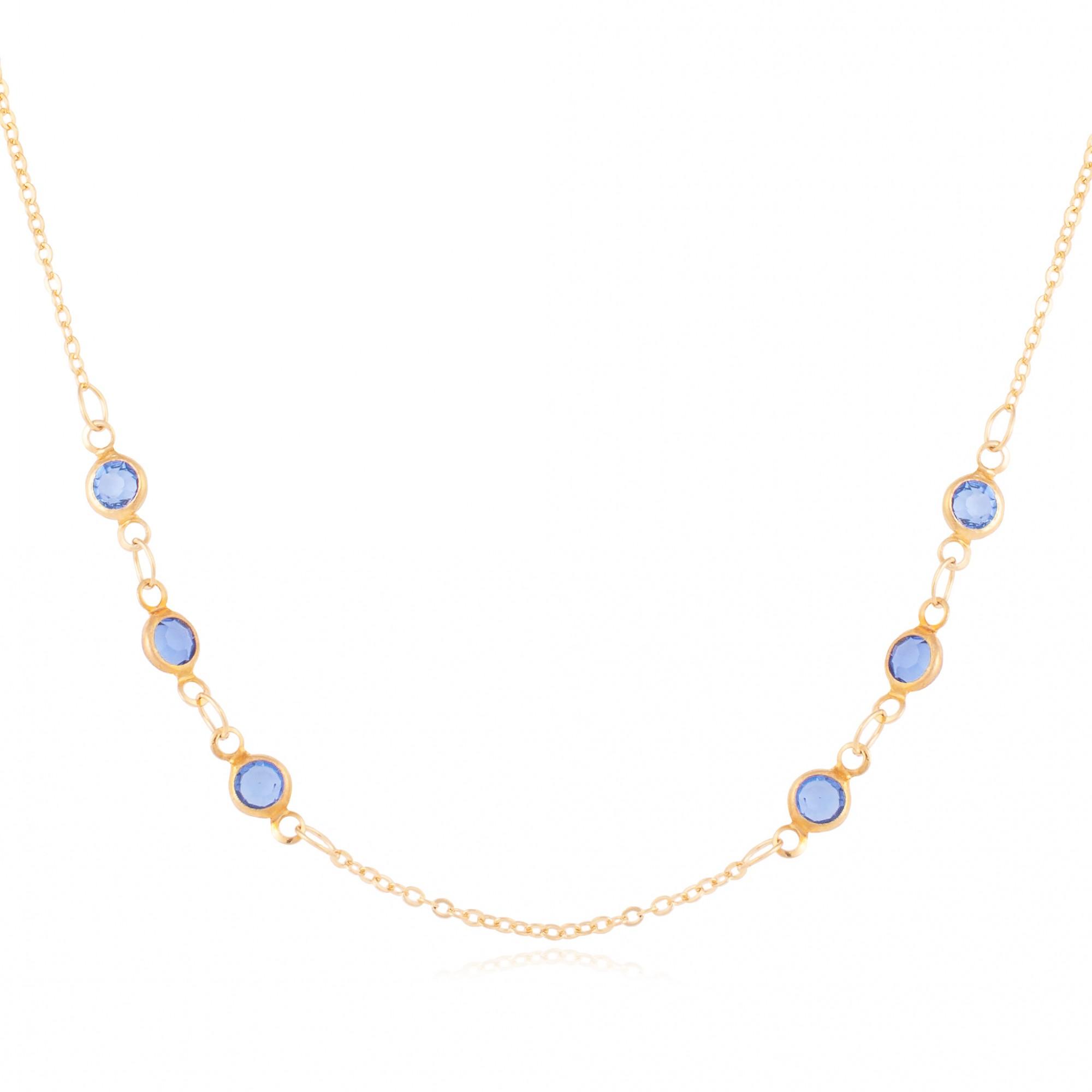 Colar trio de cristais azul banhado a ouro 18k.  - romabrazil.com.br