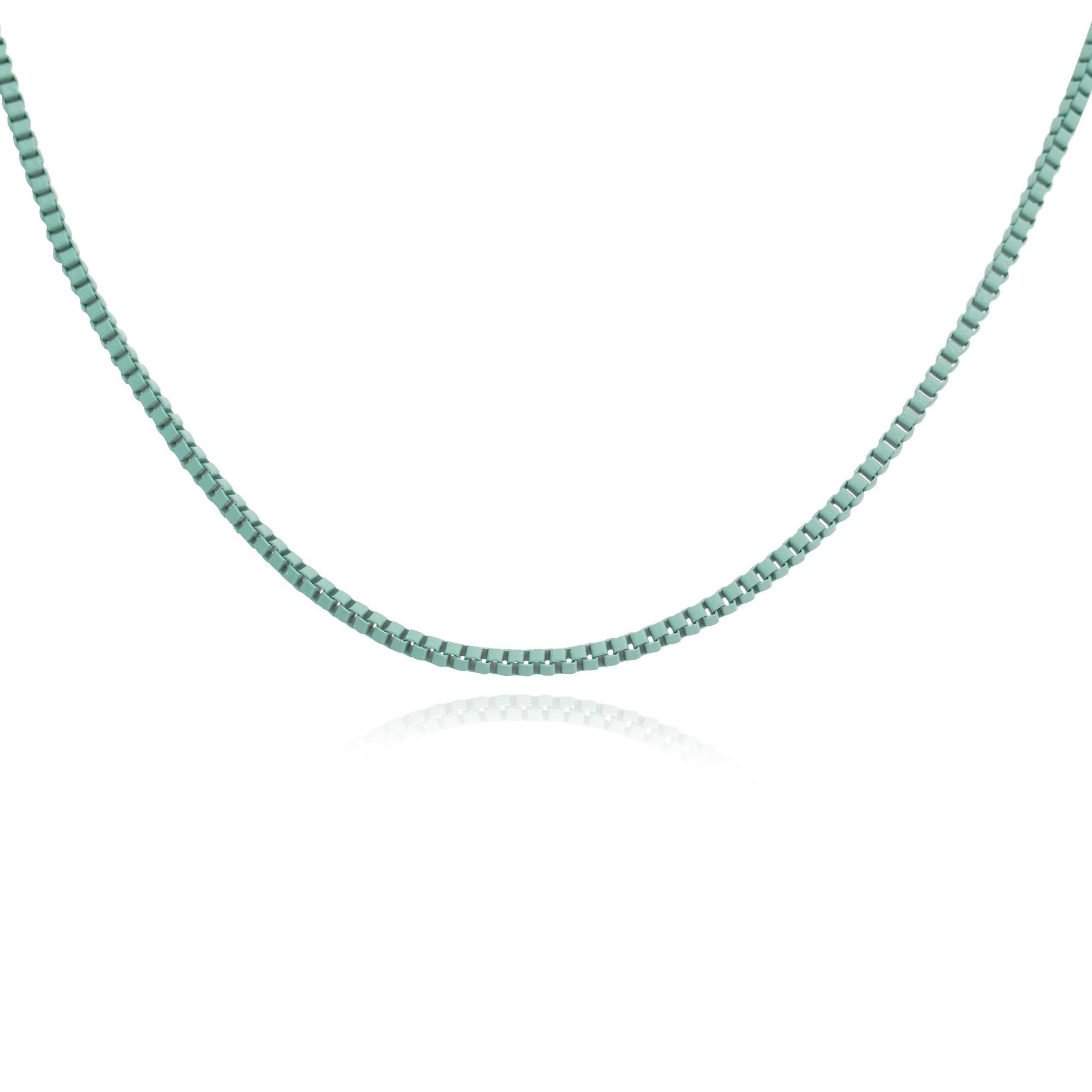 Colar veneziana na cor verde água de 45cm  - romabrazil.com.br