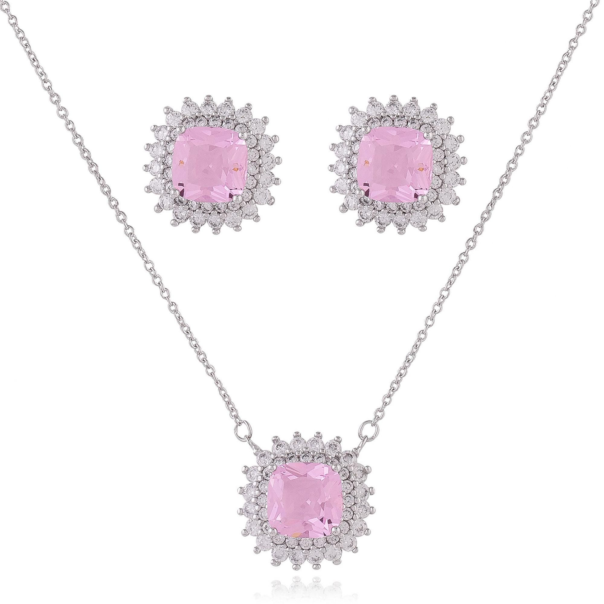 Conjunto com zircônias cristais e cor de rosa banho de ródio branco.  - romabrazil.com.br