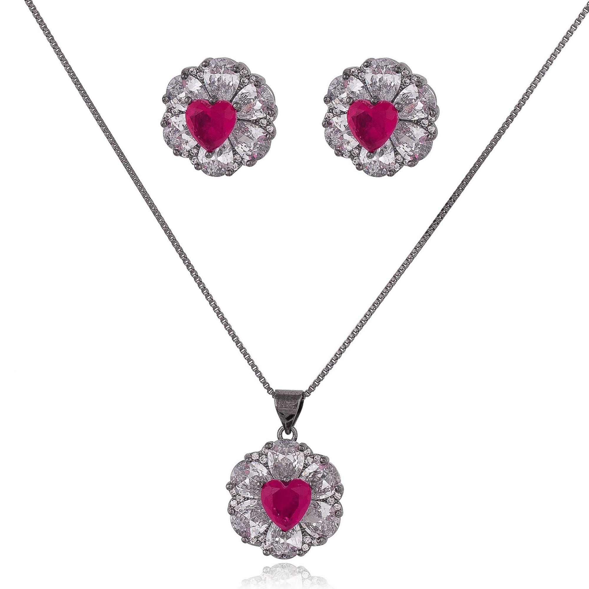 Conjunto com zircônias cristais e coração com pedra fusion cor de rosa banho de grafite.  - romabrazil.com.br