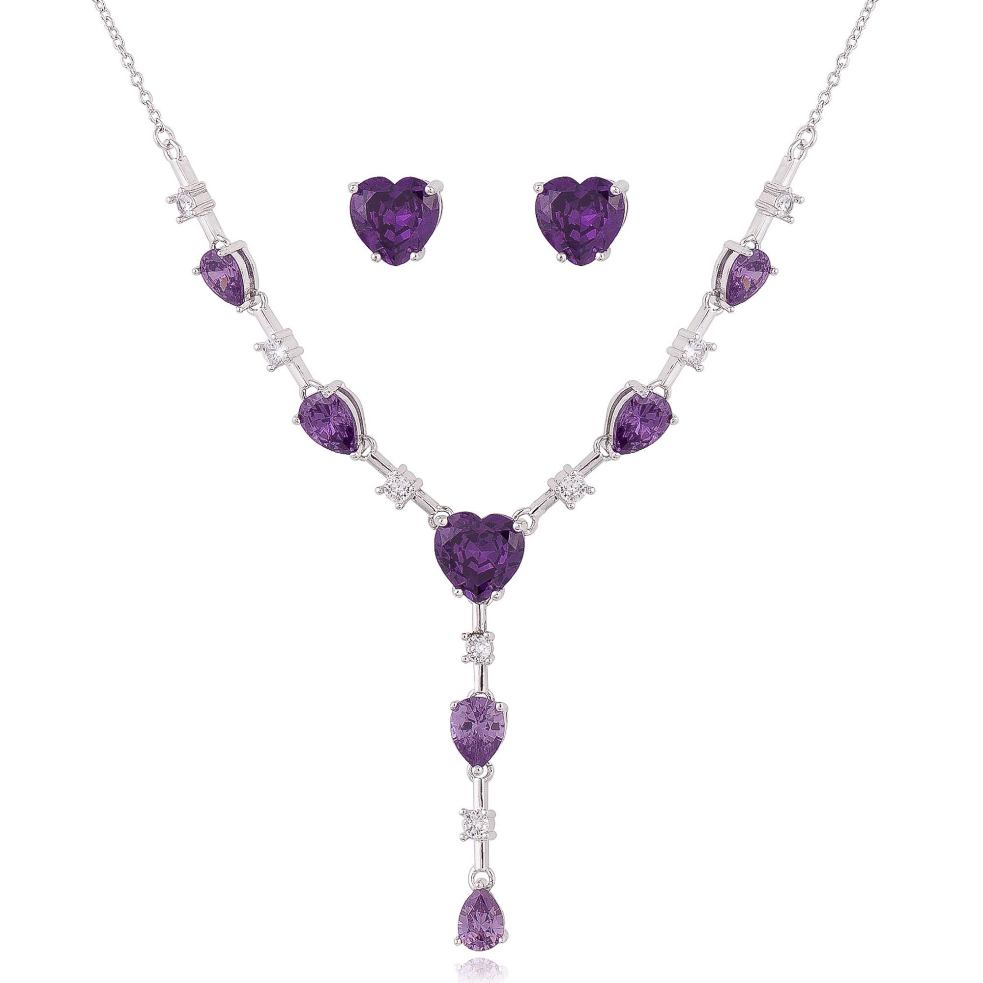Conjunto com zircônias cristais e ultra violet banho de ródio branco.  - romabrazil.com.br