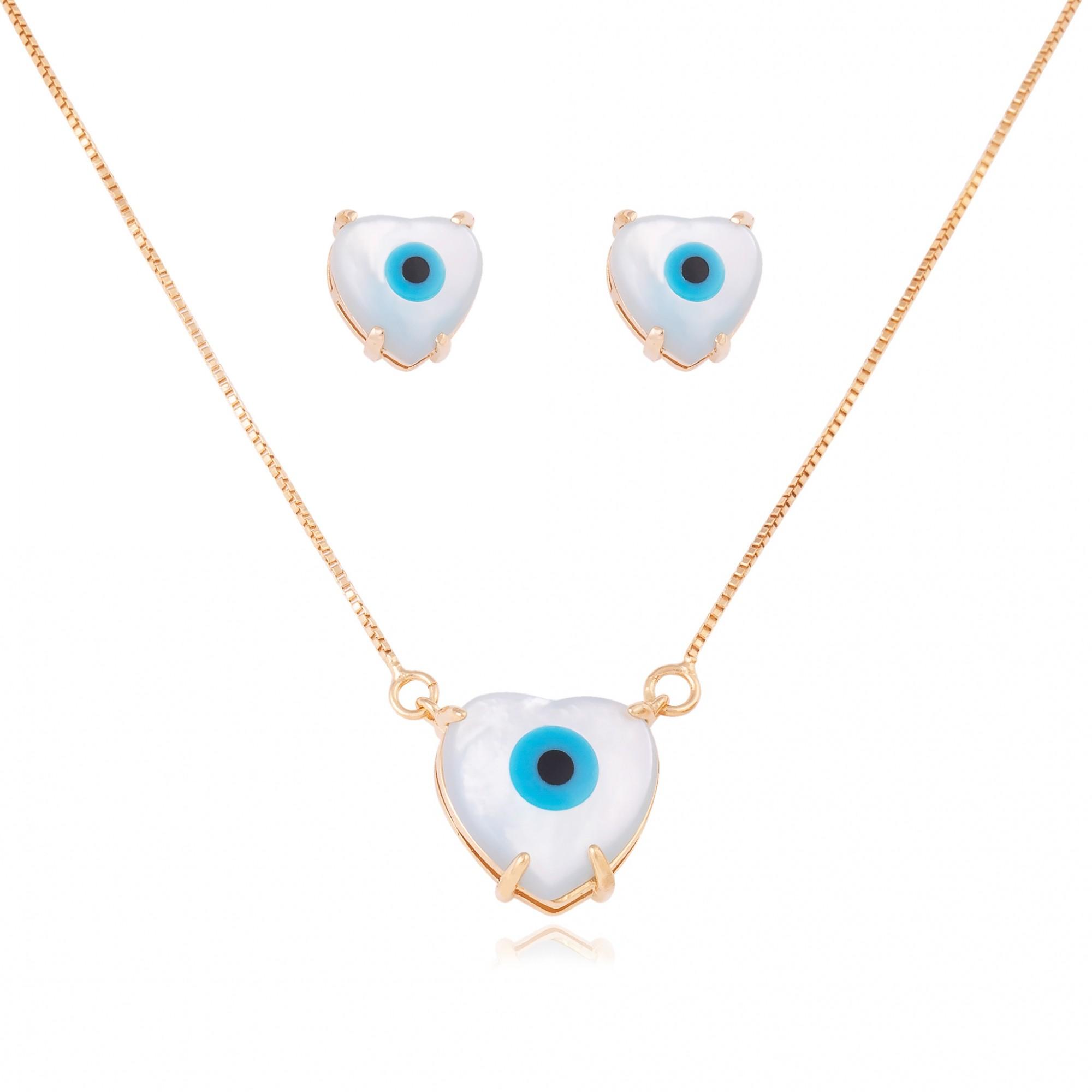 Conjunto coração com olho grego de madre pérola banhado a ouro 18k.  - romabrazil.com.br