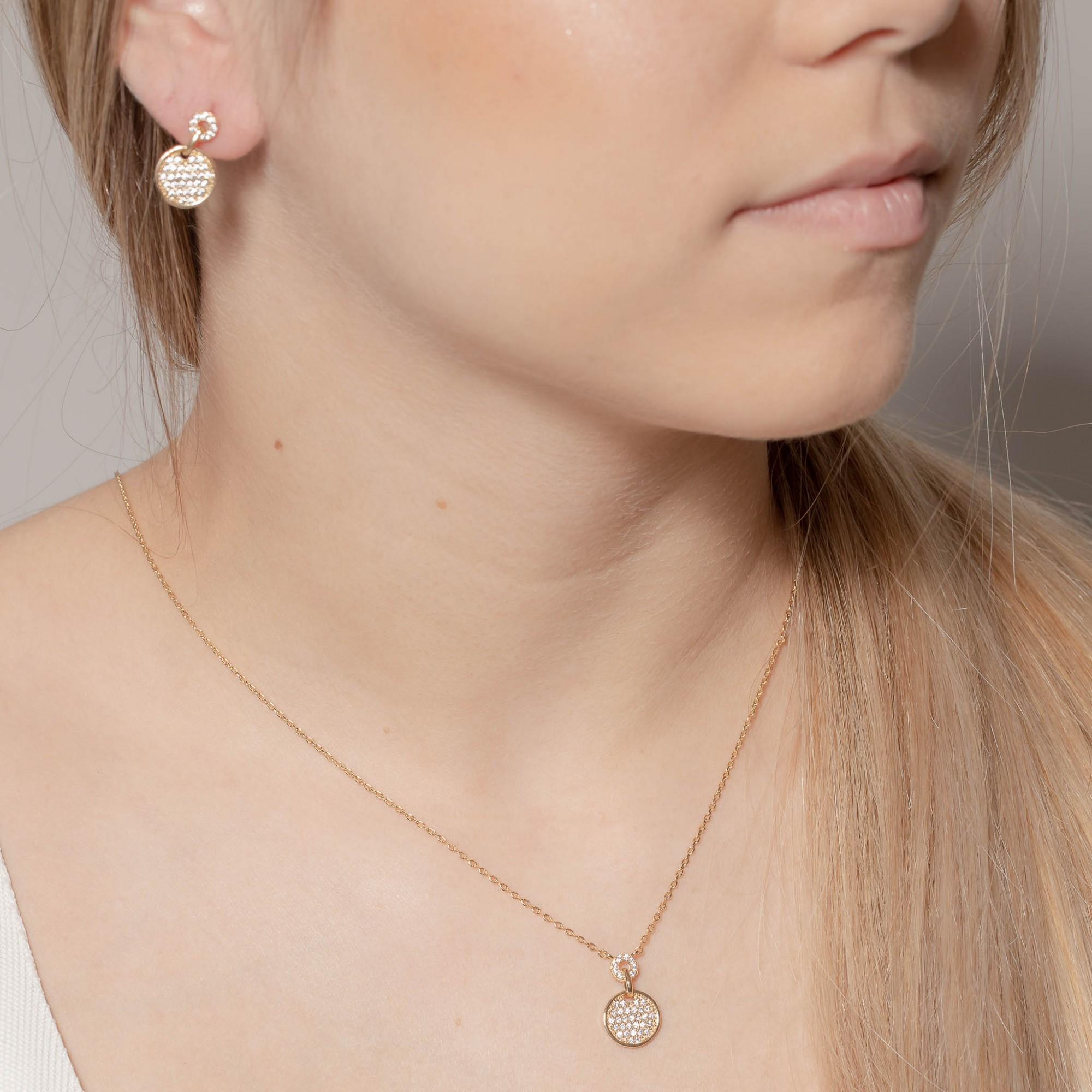 Conjunto cravejado com micro zircônias cristais banhado a ouro 18k  - bfdecor.com.br