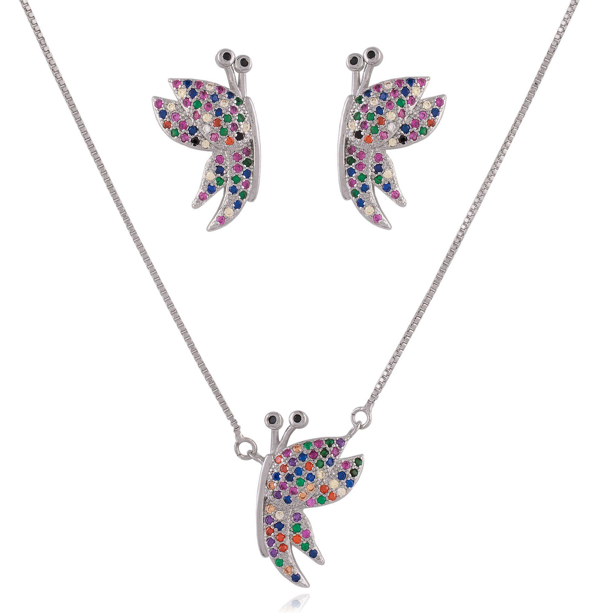 Conjunto de borboletas com micro zircônias coloridas no banho de ródio branco.  - bfdecor.com.br