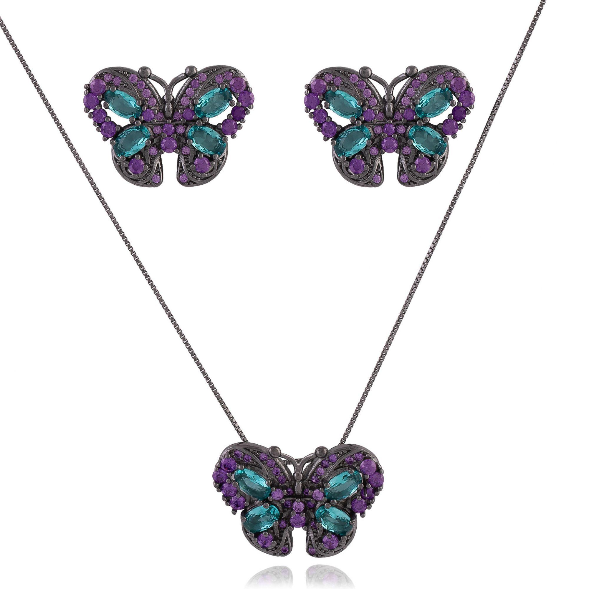 Conjunto de borboletas com zircônias turmalina e ultra violet banho de grafite.  - bfdecor.com.br
