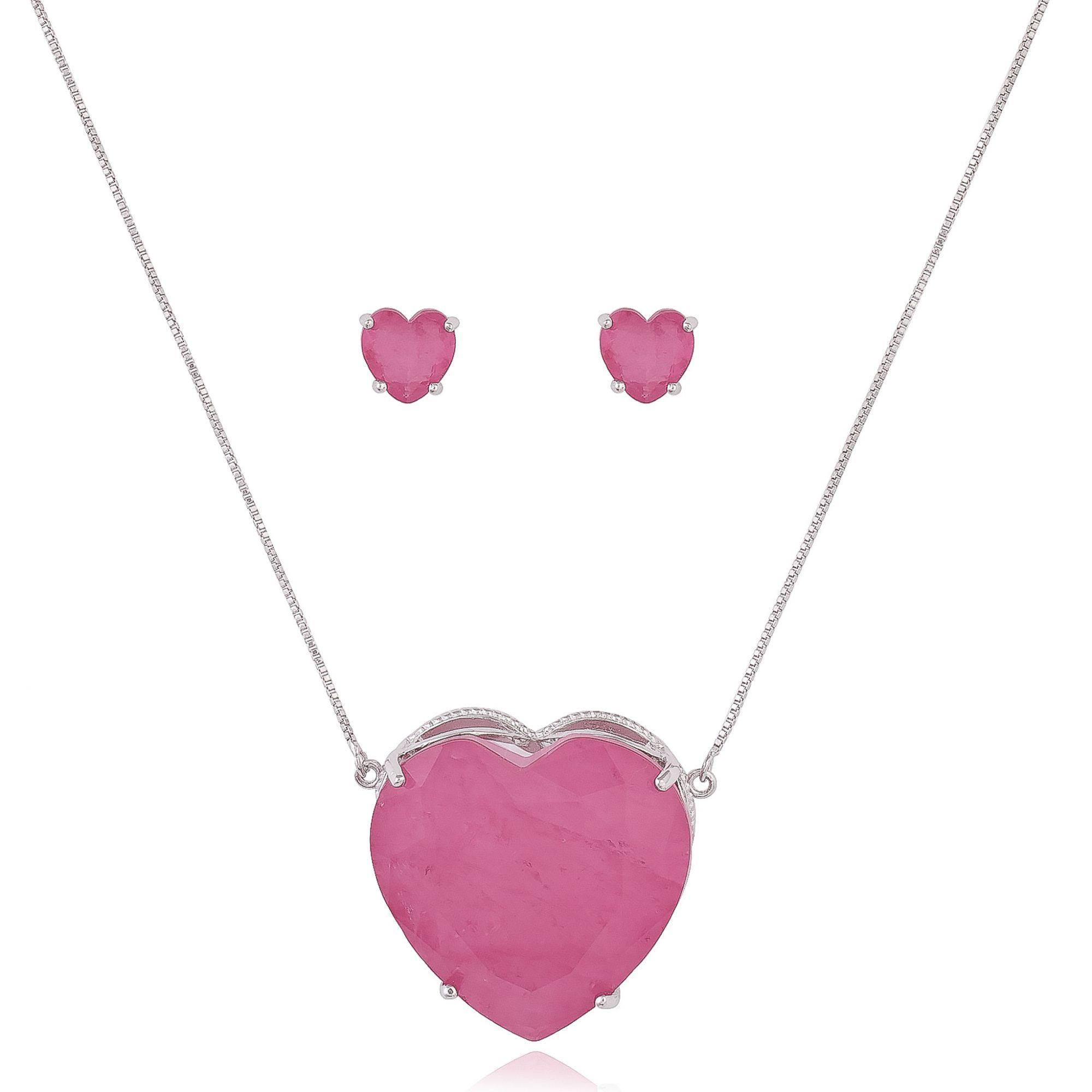 Conjunto de coração com zircônia fusion cor de rosa banho de ródio branco.  - romabrazil.com.br