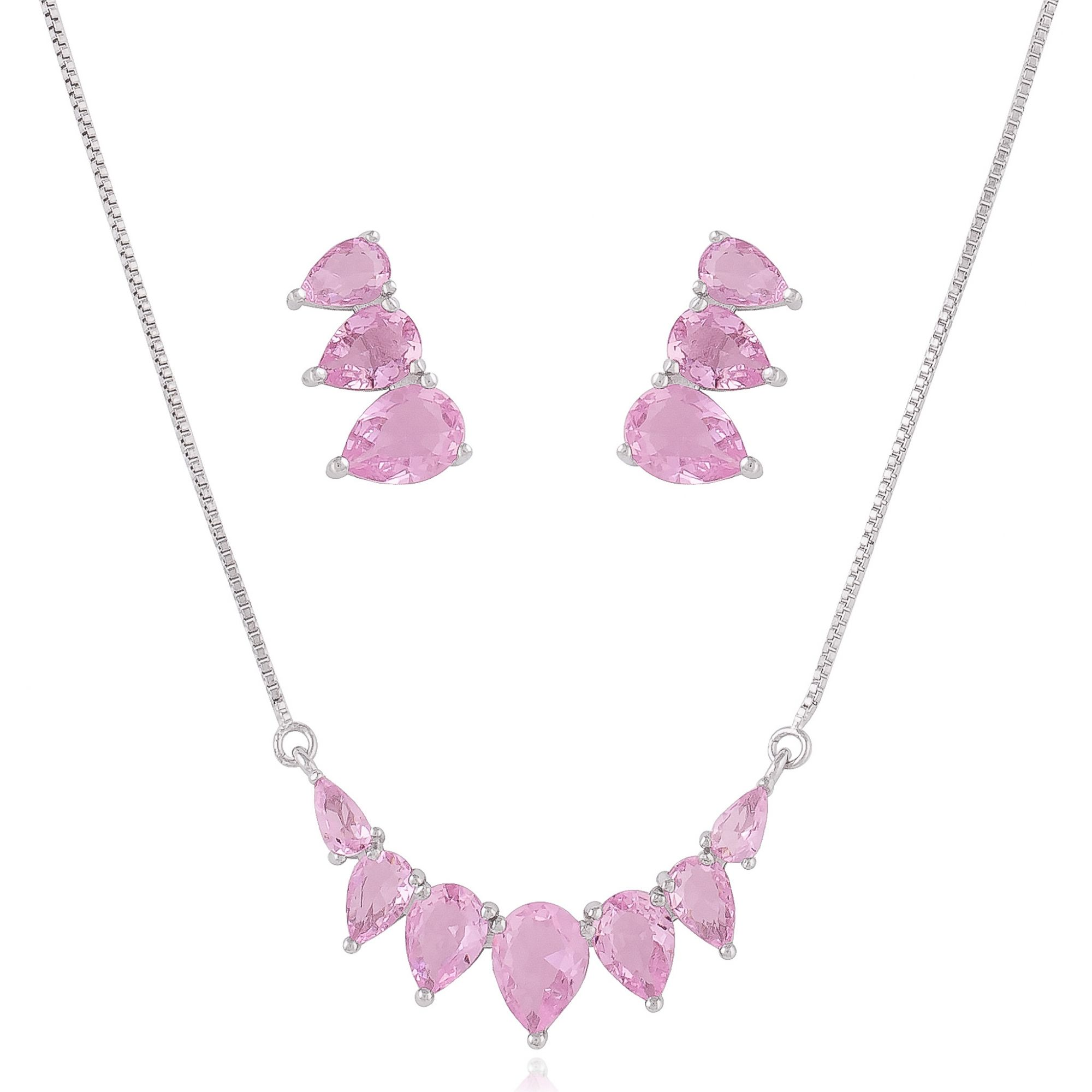 Conjunto de gotas em zircônias cor de rosa banho de ródio branco.  - bfdecor.com.br