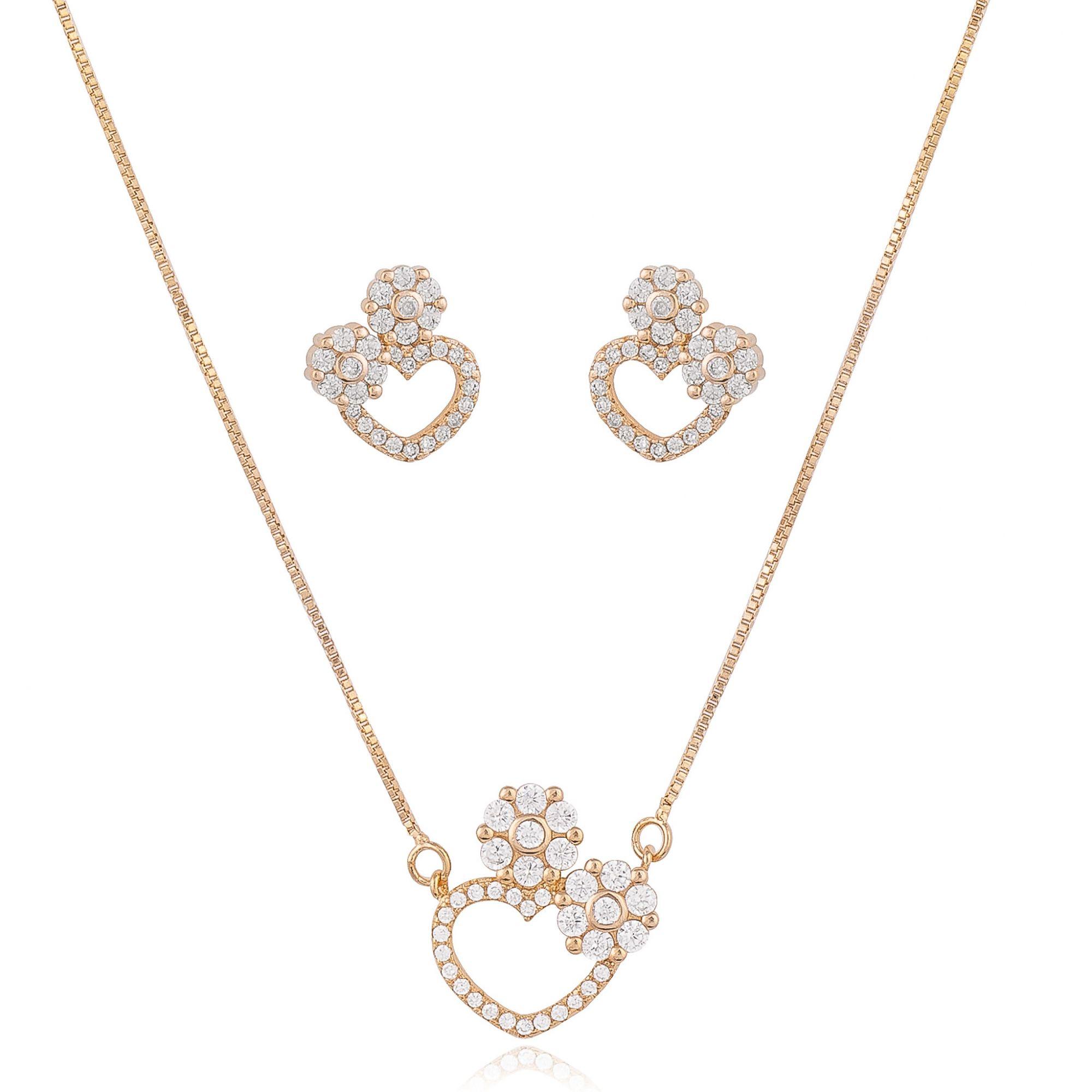 Conjunto detalhe de flor com zircônias cristais banhado a ouro 18k.  - bfdecor.com.br