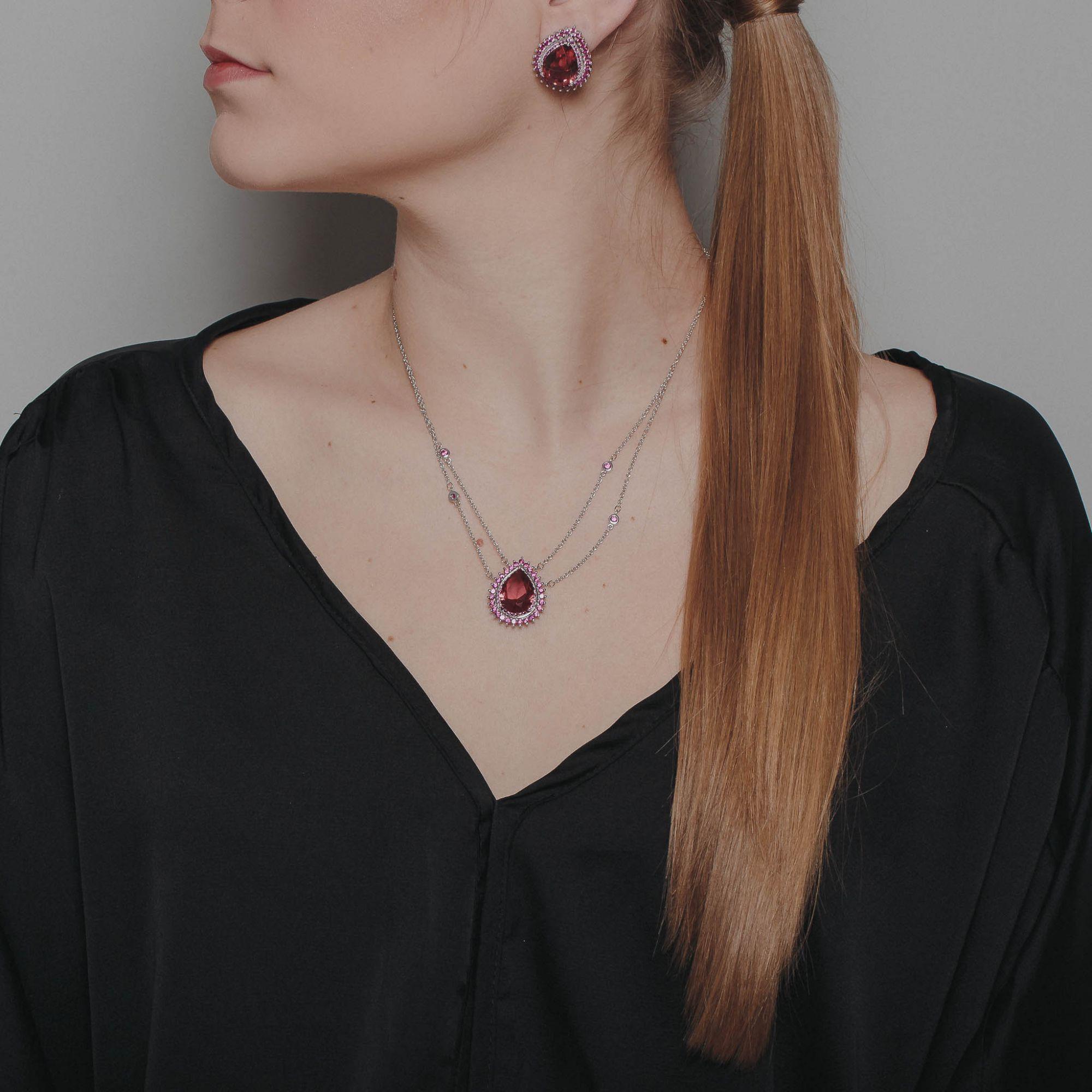 Conjunto max gotas de zircônias rubis no banho de ródio branco.  - romabrazil.com.br