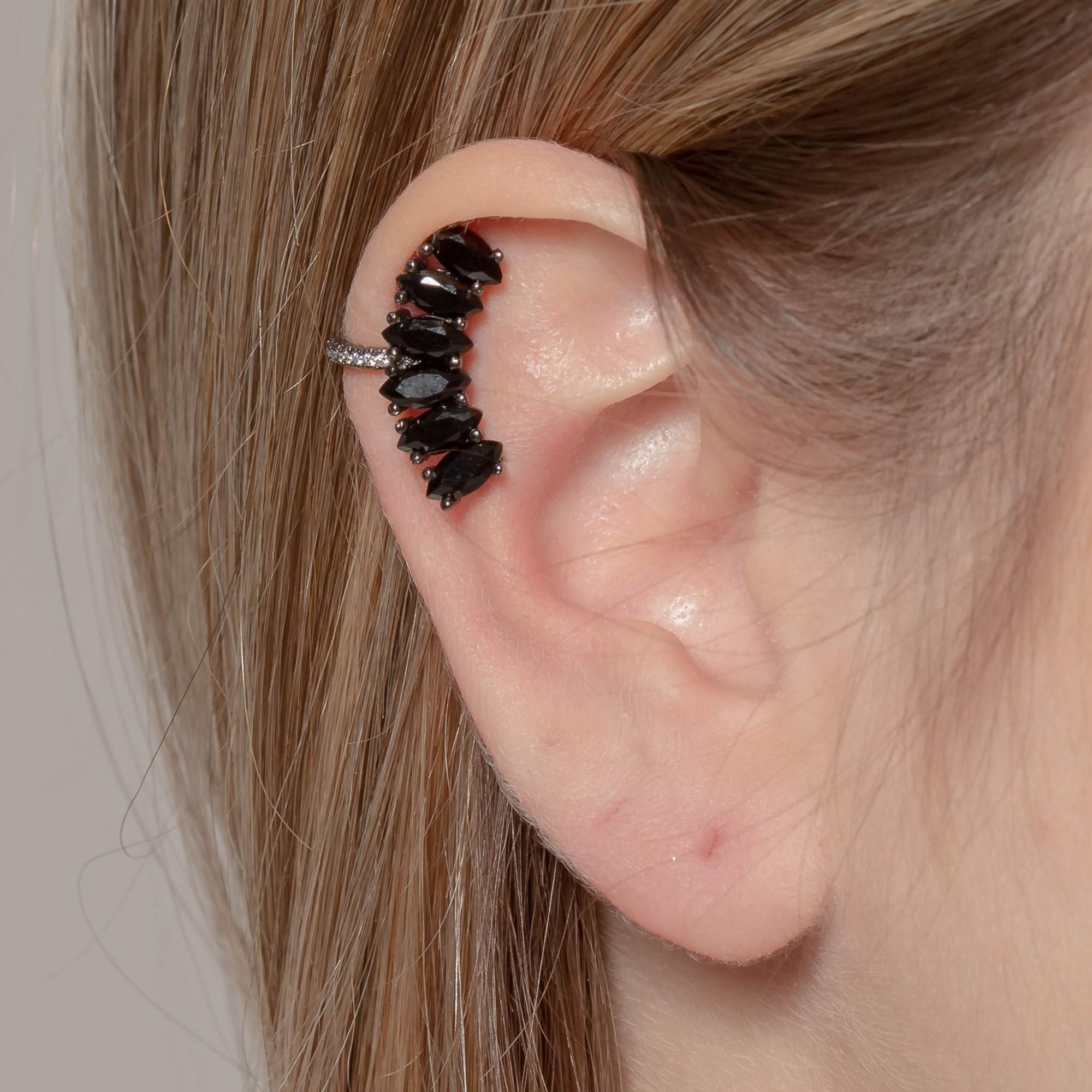 Piercing fake de cristais pretos banho de grafite.  - romabrazil.com.br