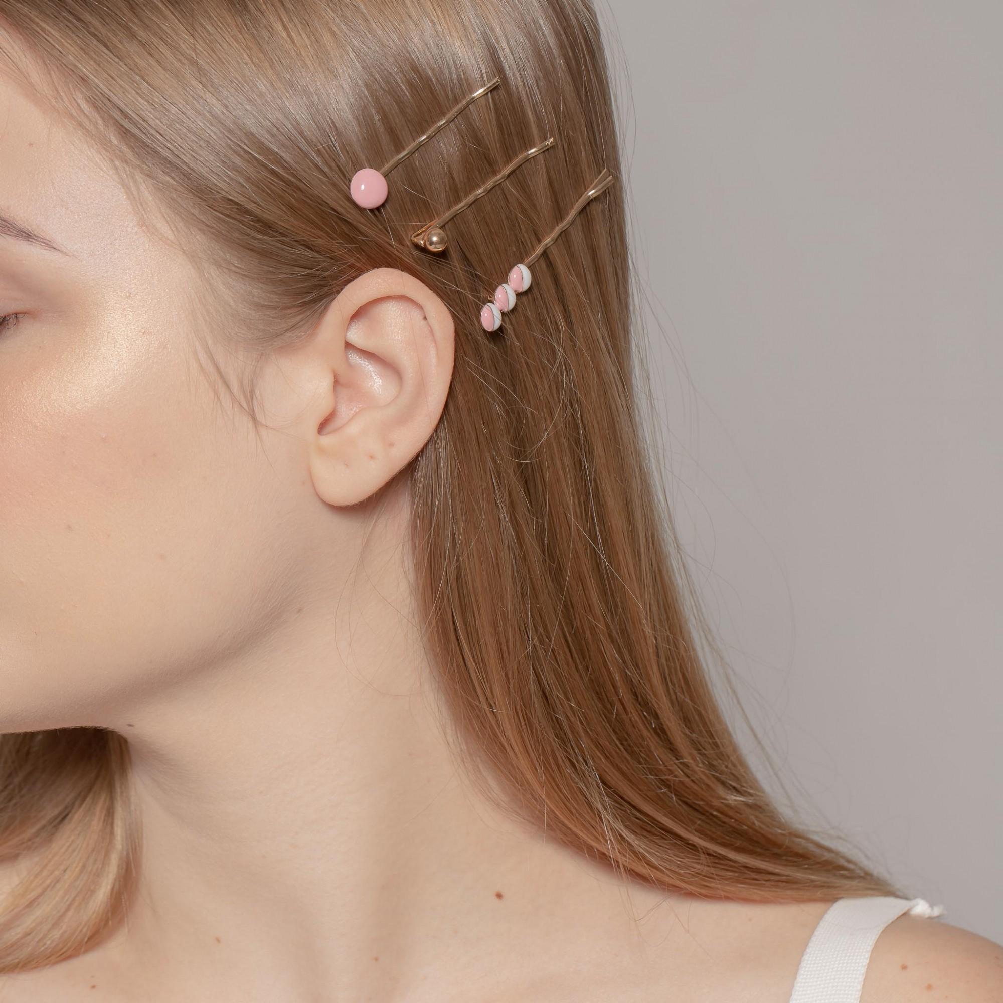 Presilha com detalhe em resina rosa e branca  - romabrazil.com.br