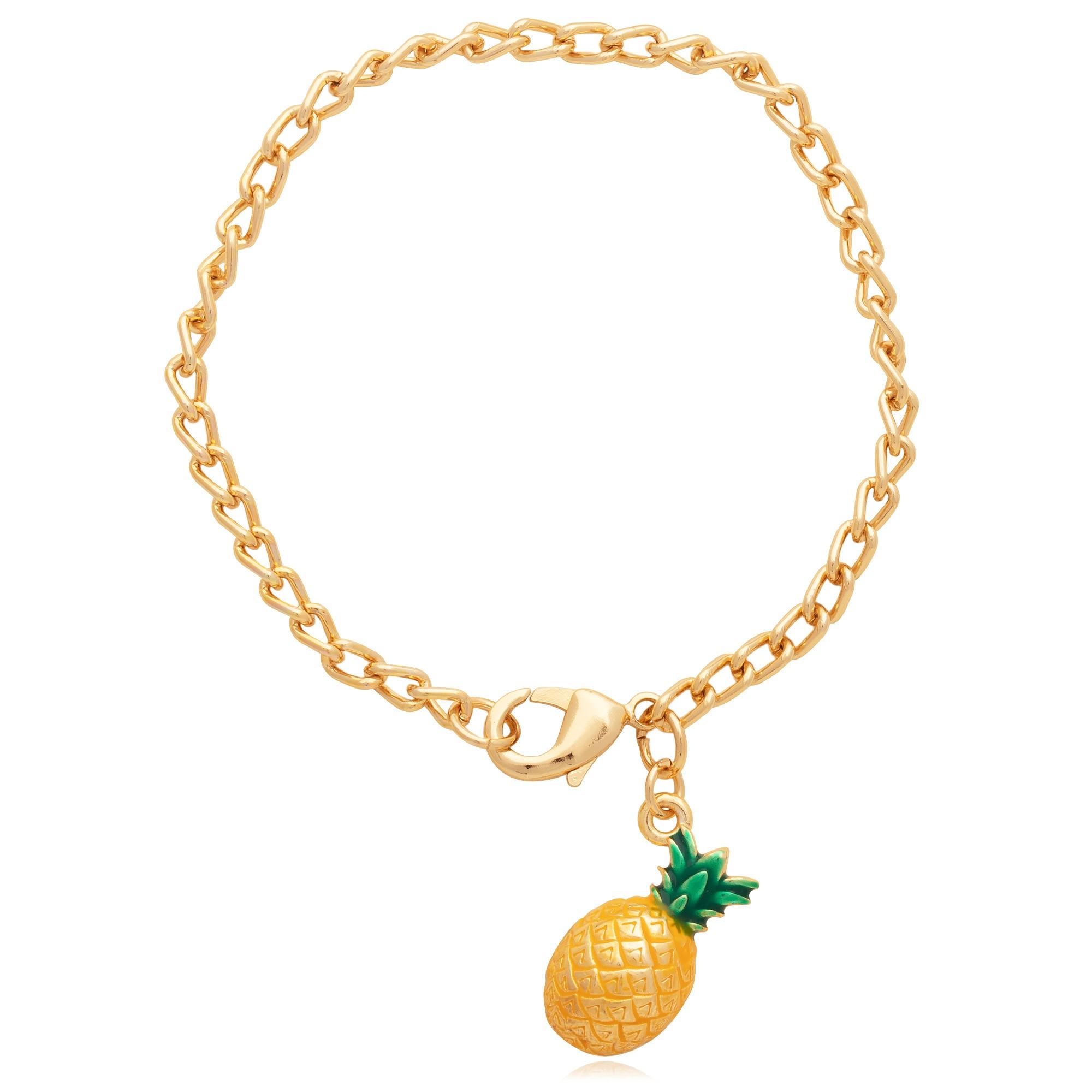 Pulseira banhado À ouro 18k com pingente abacaxi.  - bfdecor.com.br