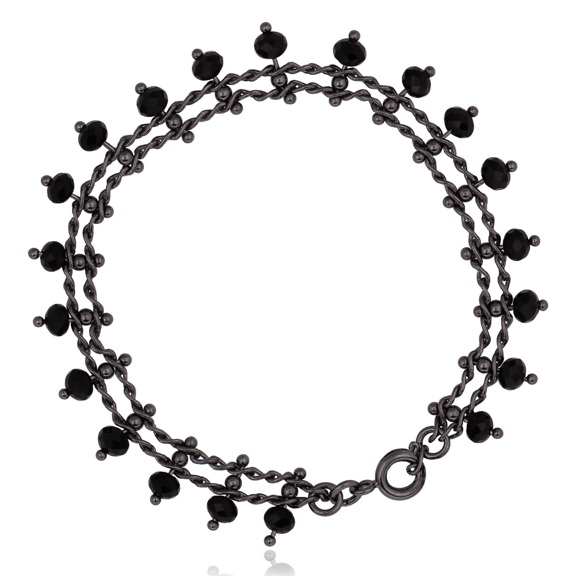 Pulseira com cristais negros banho de grafite.  - romabrazil.com.br