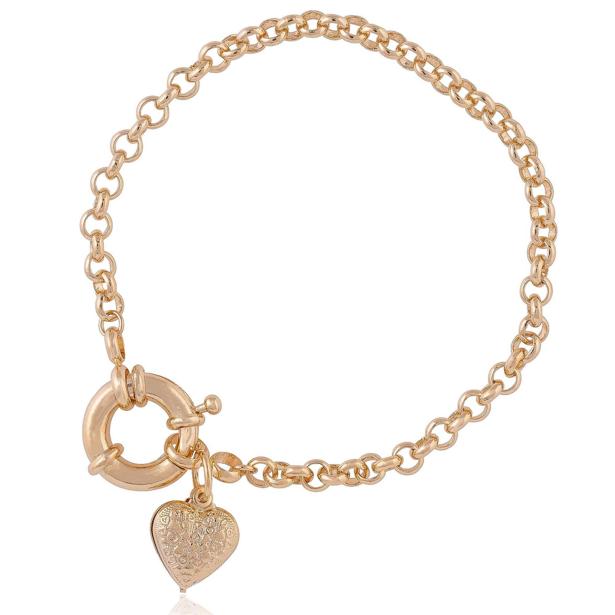 Pulseira com detalhe de coração banhada a ouro 18k.  - romabrazil.com.br