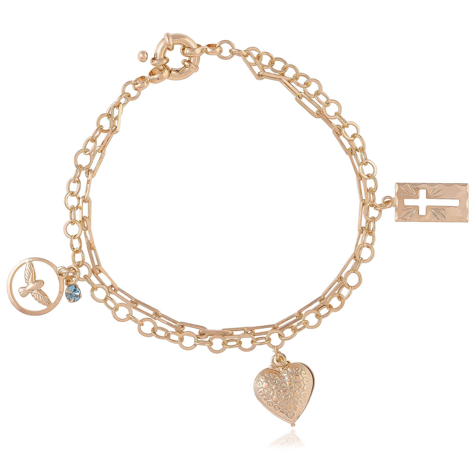 Pulseira com pendentes de coração banhada a ouro 18k.  - bfdecor.com.br