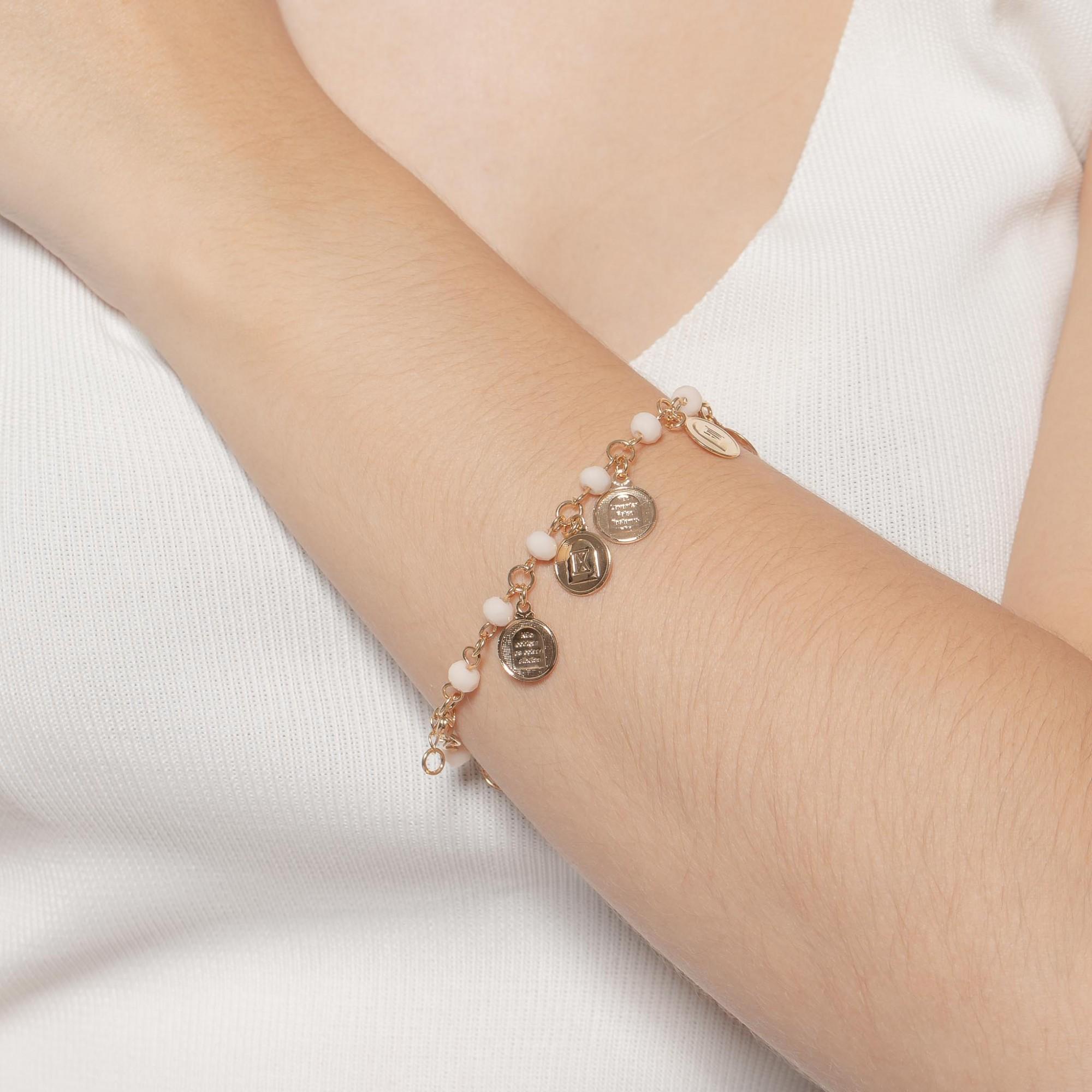 Pulseira dez mandamentos com cristais banhada a ouro 18k.  - romabrazil.com.br