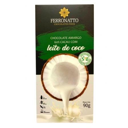 FERRONATTO CHOC AMARGO 60% CACAU AO LEITE DE COCO 90g