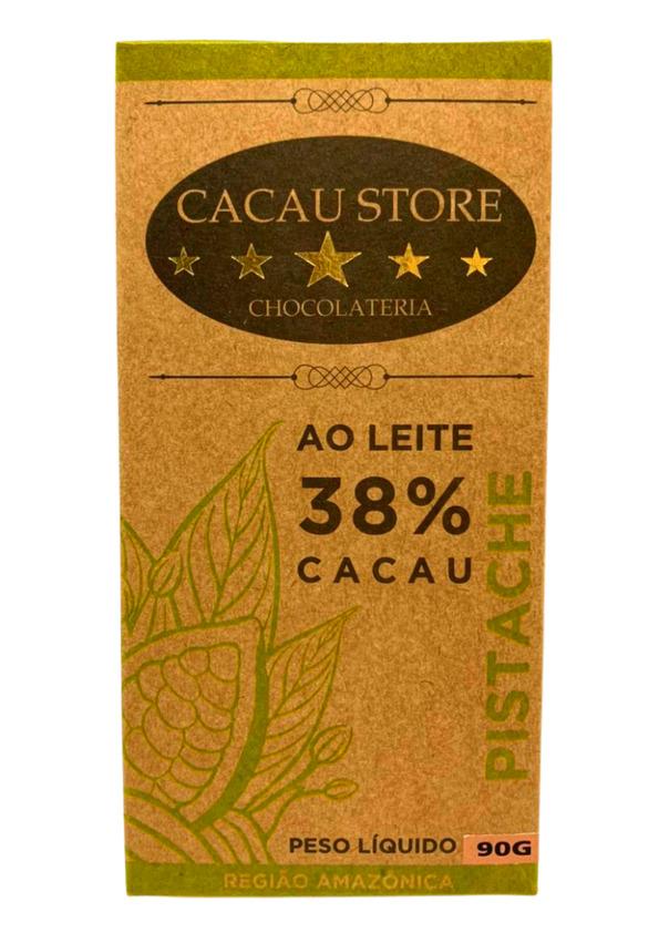 CACAU STORE 38% AO LEITE COM PISTACHE 90g