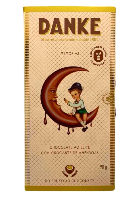 DANKE BARRA CHOC AO LEITE C/AMENDOAS 90g