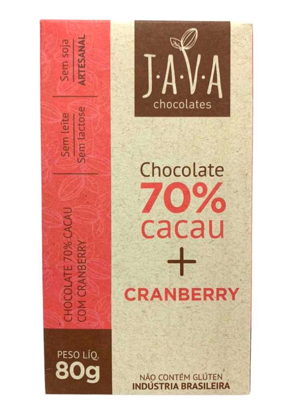 JAVA CHOCOLATE 70% COM CRAMBERRY 80g