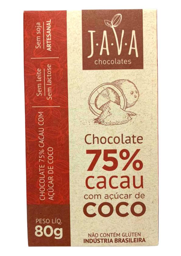 JAVA CHOCOLATE 75% COM ACUCAR DE COCO 80g