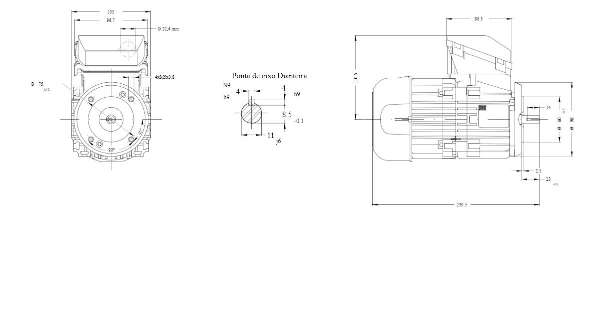MOTOR ELETRICO WEG W12 IR3 PREMIUM 0,33cv 4P TRIF.2/3V 60HZ B14T/CÇ63