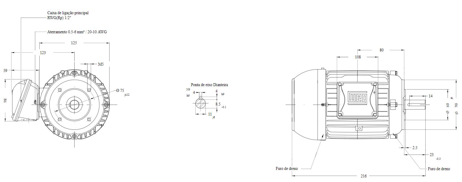 Motor elétrico Weg W22 IR3 Premium 0.16 cv 4P 63 3F 220/380 V 60 Hz IC411 - TFVE - B14D