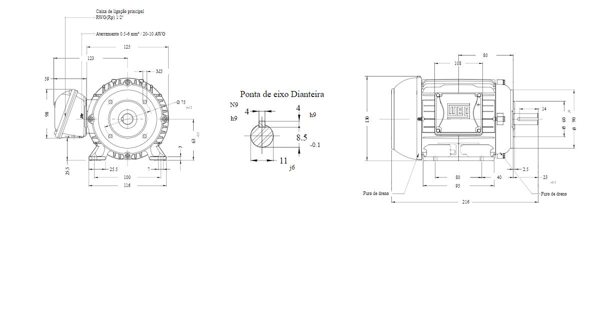 MOTOR ELETRICO WEG W22 IR3 PREMIUM 0,25cv 4P TRIF.2/3V 60HZ B34D/CÇ63